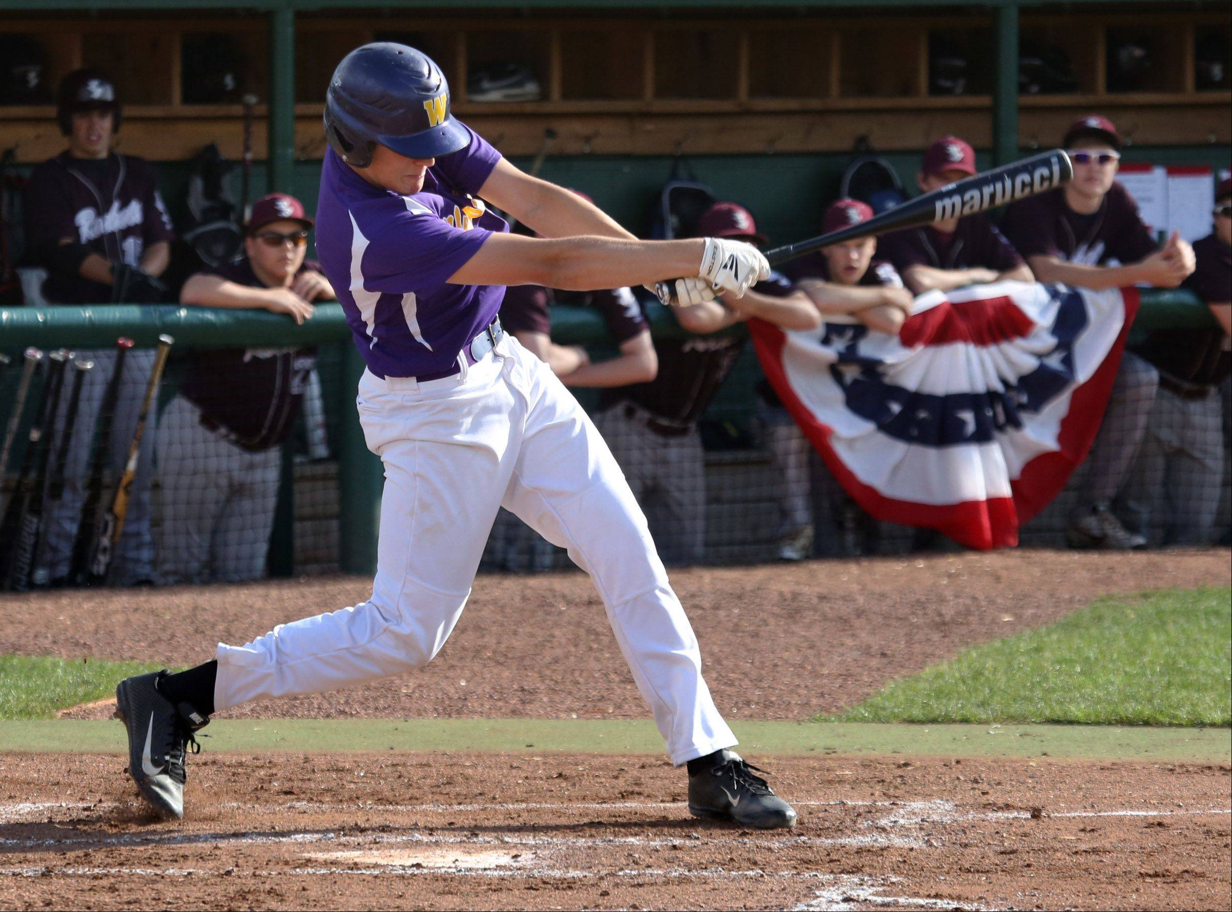 Wauconda's Austin Swenson gets a hit in the first inning of Class 3A sectional semifinal play Thursday against Richmond-Burton at Grayslake Central.