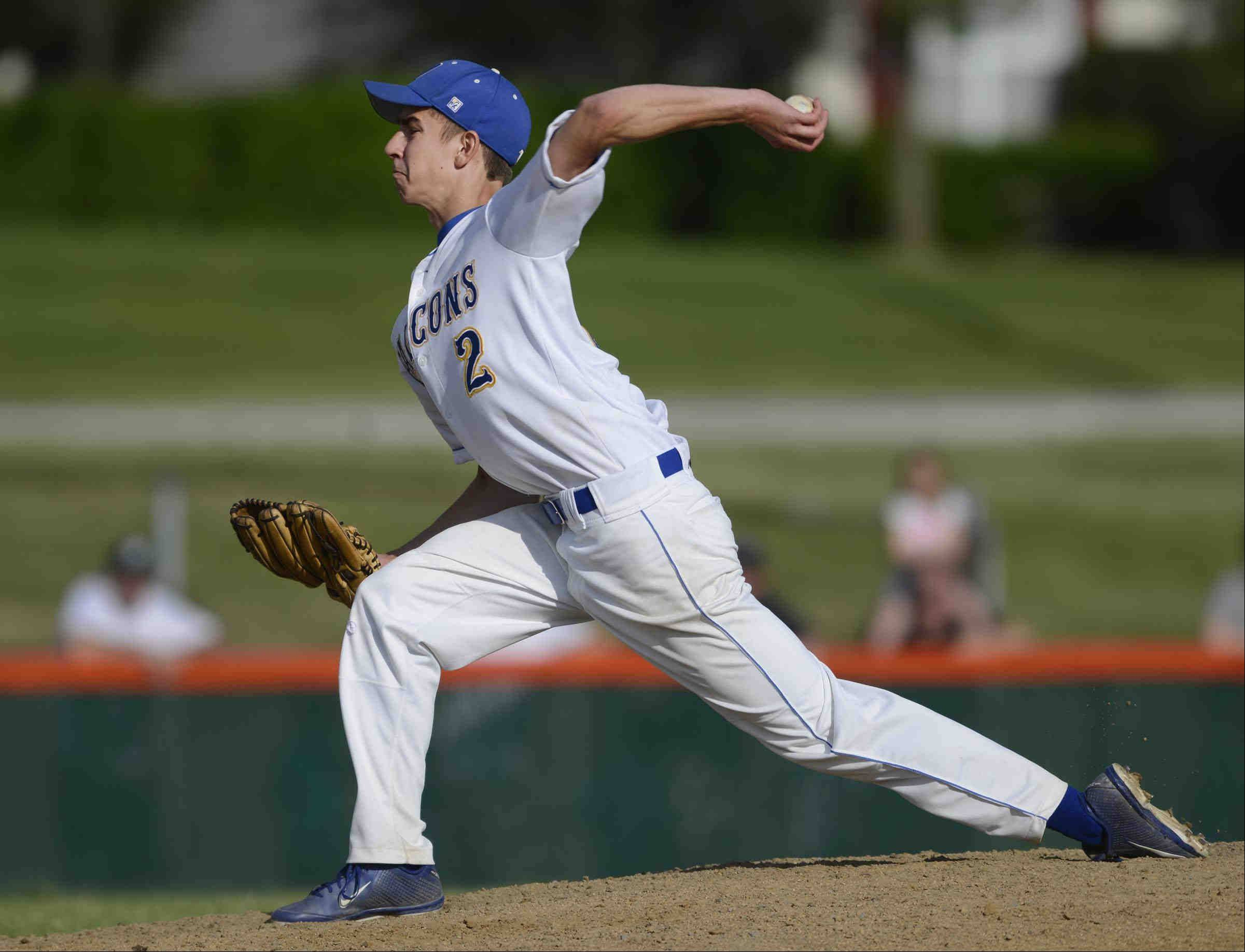 Wheaton North starting pitcher Doug Hayes throws against Bartlett Thursday in the St. Charles East sectional game.