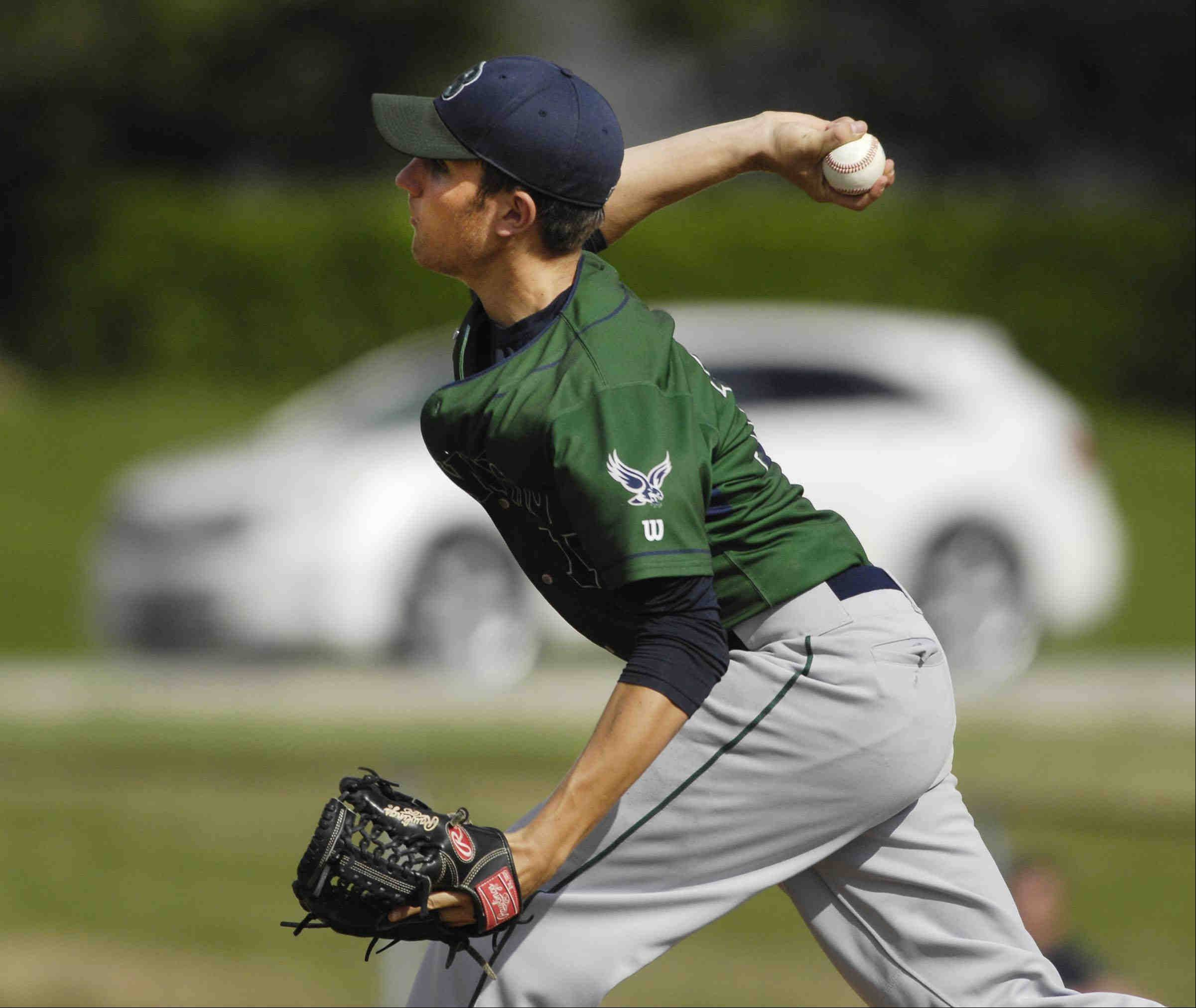 Bartlett' starting pitcher Colin Nowak throws against Wheaton North Thursday in the St. Charles East sectional game.