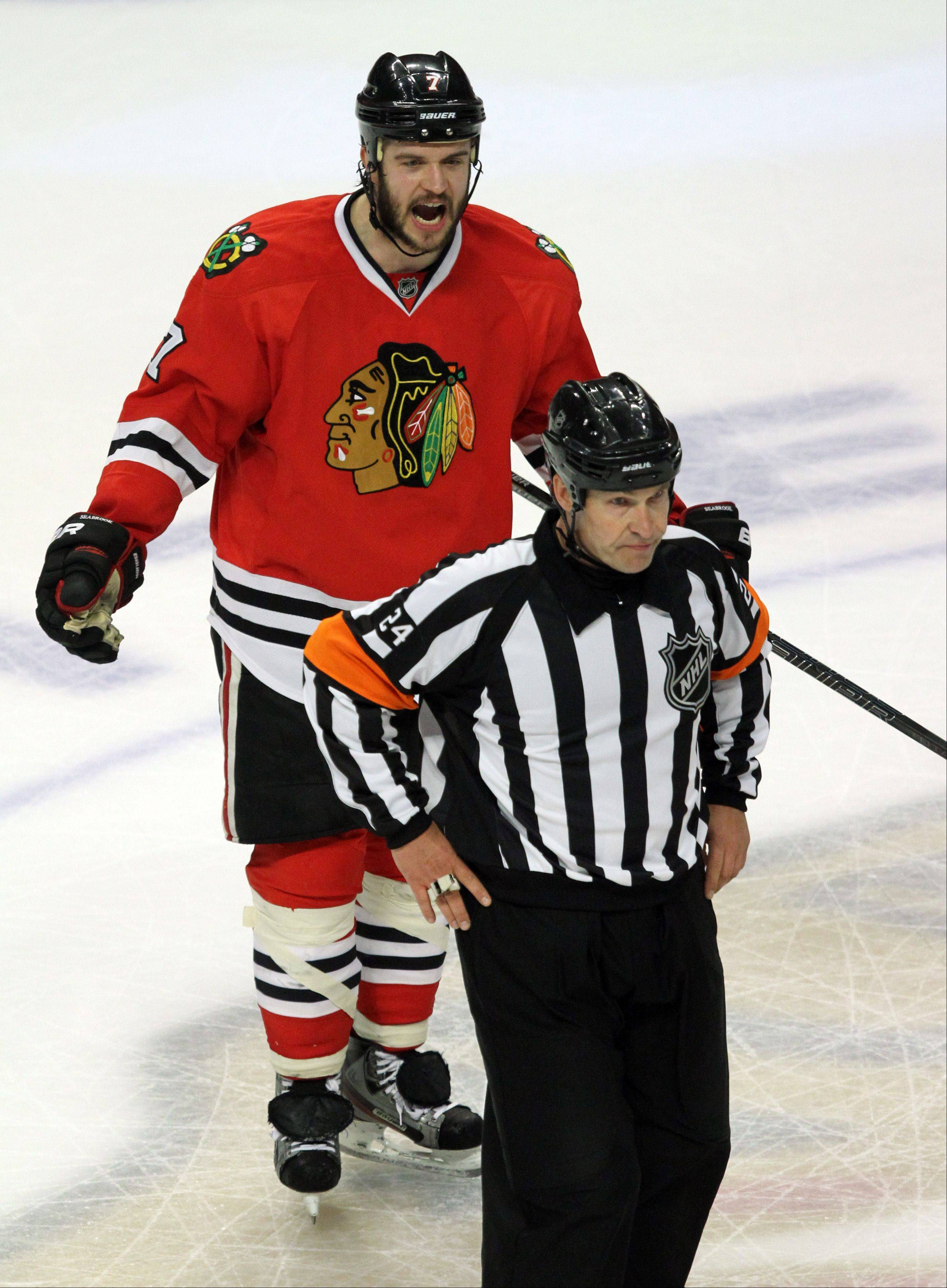Blackhawks defenseman Brent Seabrook argues a ruling by an official calling off a goal by Niklas Hjalmarsson in the third period of Game 7 Thursday at the United Center.