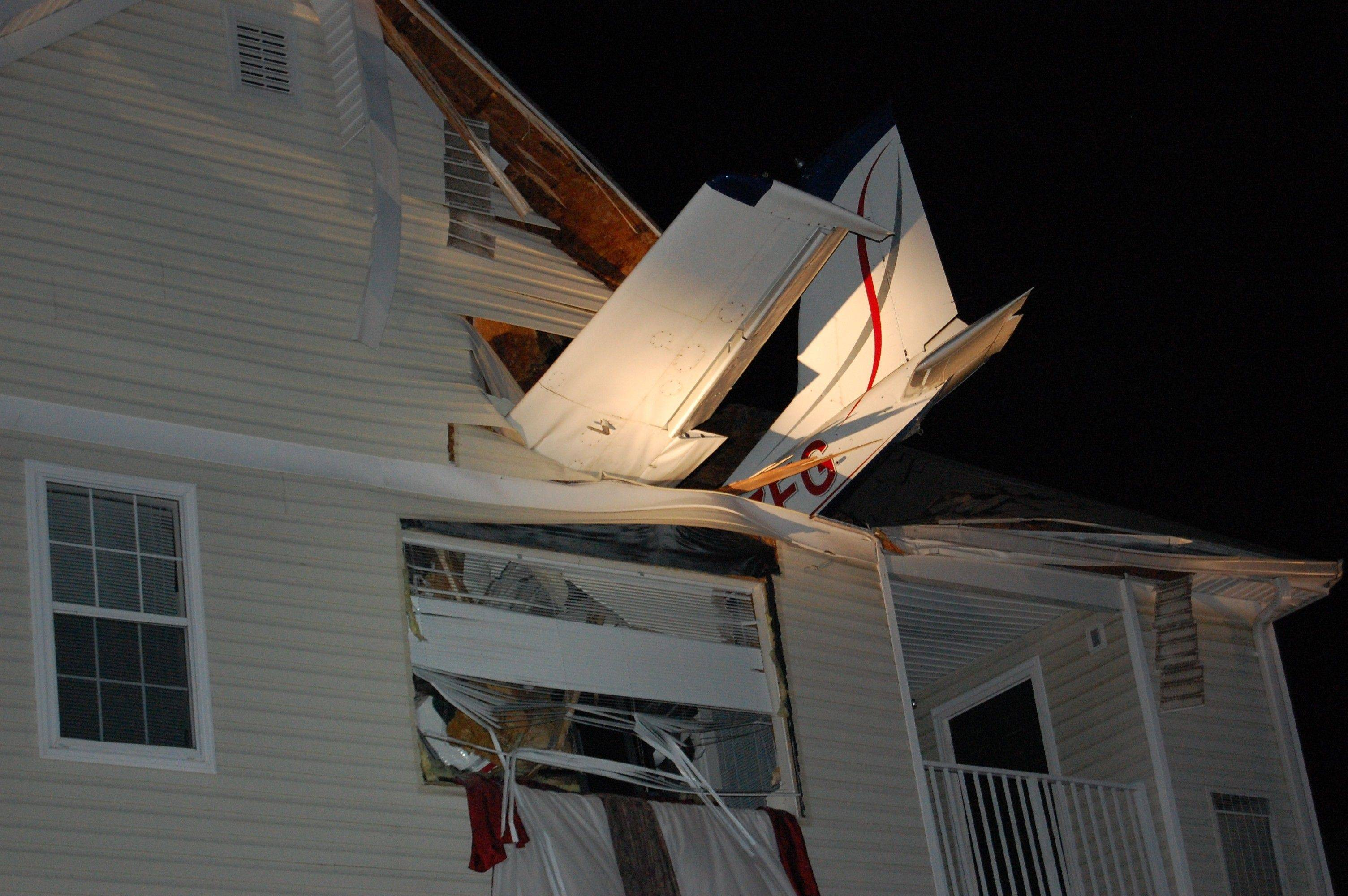 A small plane crashed Friday into the living room of an apartment in Herndon, Va.
