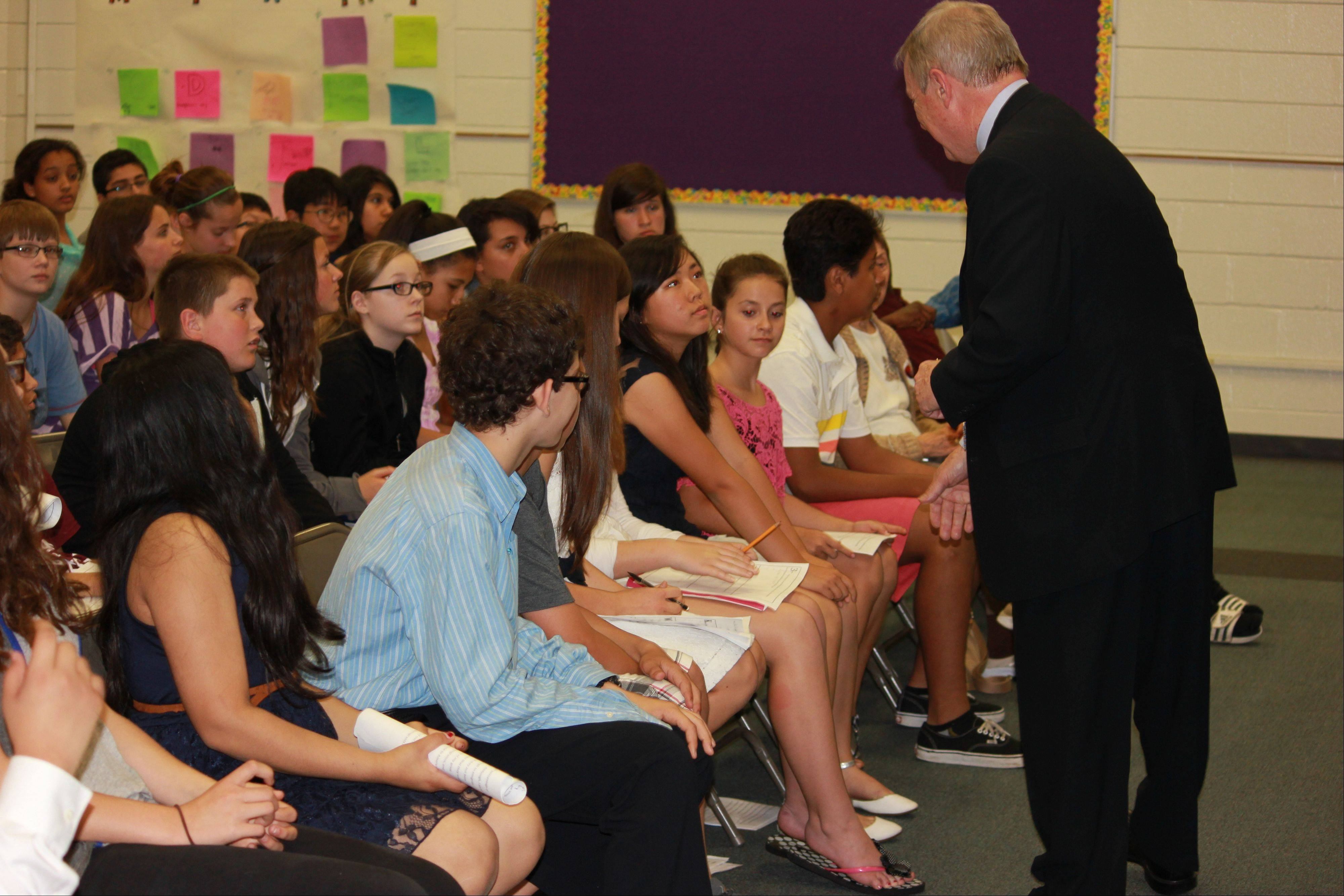 U.S. Sen. Dick Durbin visits London Middle School on Thursday.