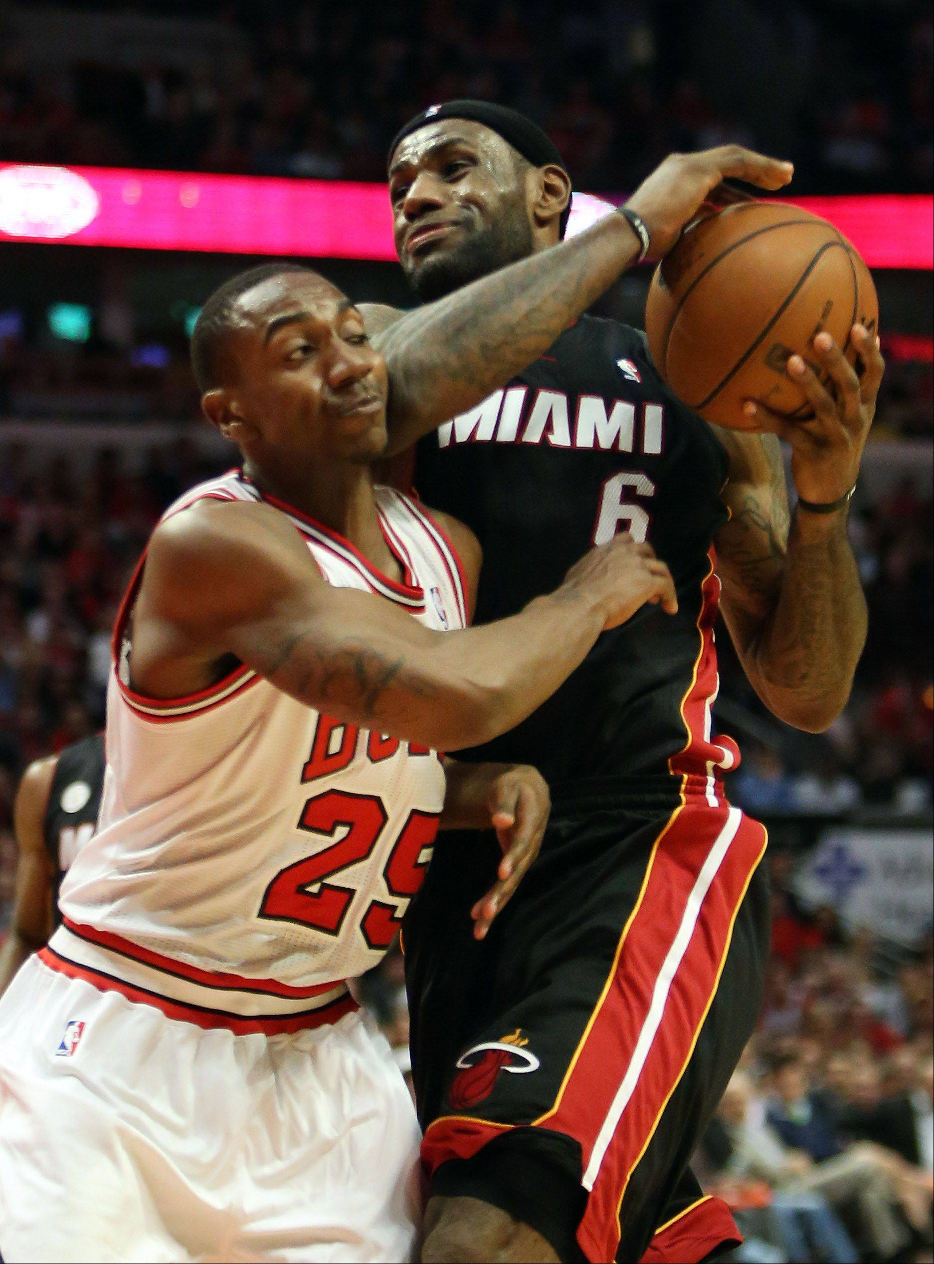 Miami's LeBron James drives on Bulls point guard Marquis Teague during Game 4 of the NBA Eastern Conference semifinals. Most of Teague's playing time in his rookie season game while Kirk Hinrich was injured.