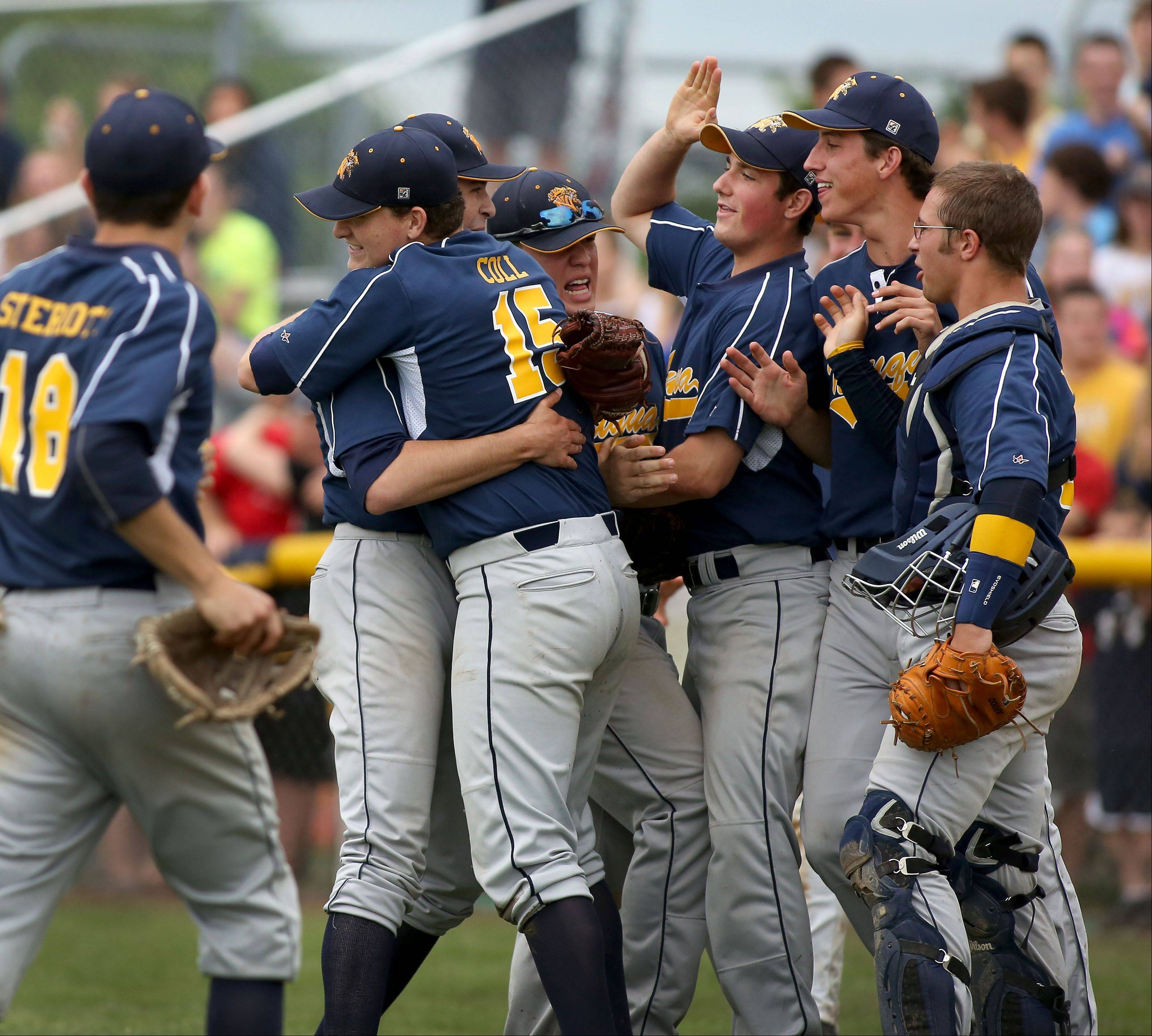 Neuqua Valley celebrates their win over Plainfield North in Class 4A sectional semifinals on Friday in Naperville.