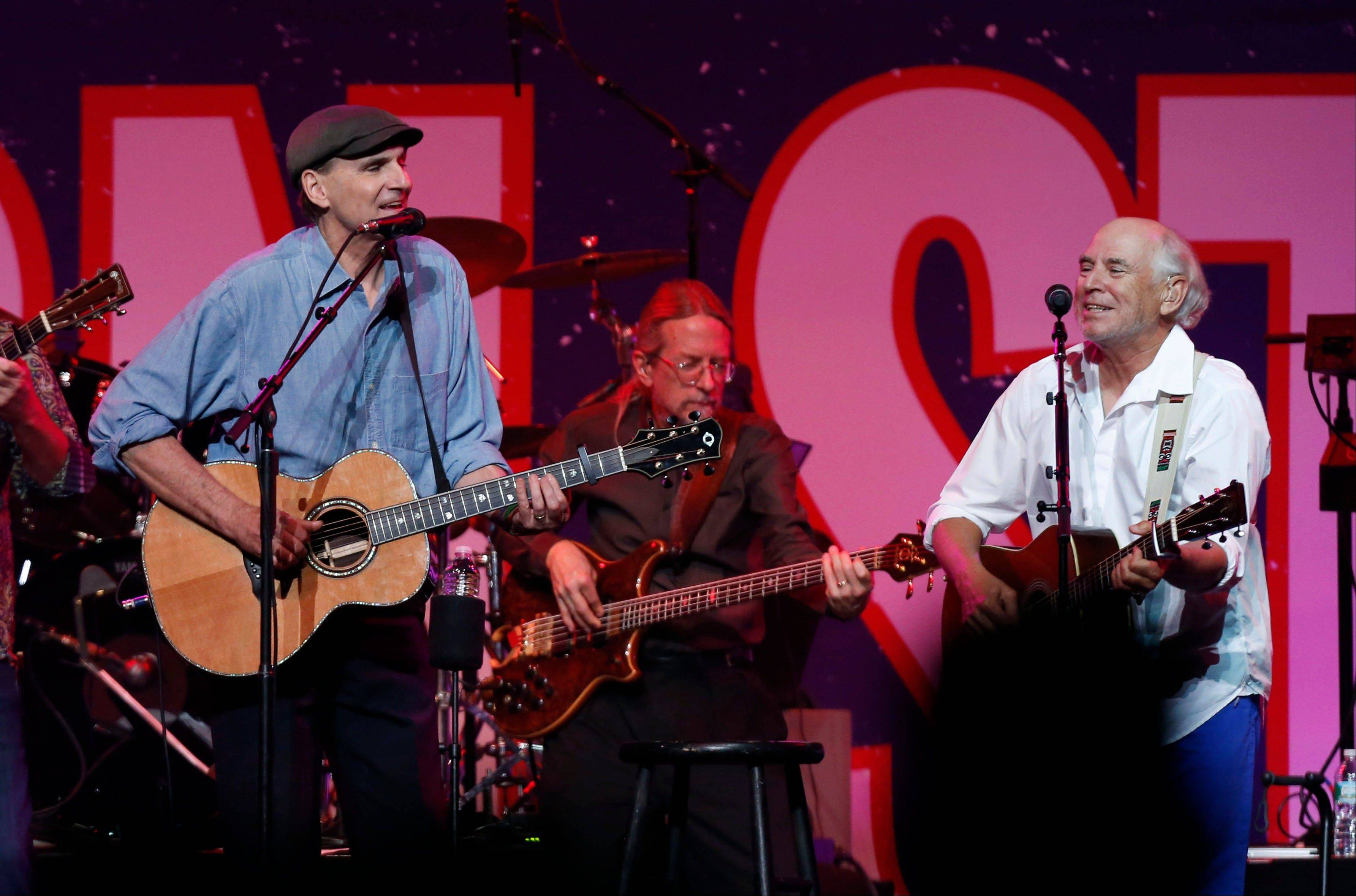 The Boston Strong Concert: An Evening of Support and Celebration brought out big names like James Taylor, left, and Jimmy Buffett, who performed at the benefit Thursday.