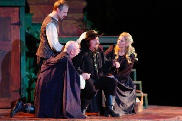 "Jack Hickey, second from right, played Cyrano in Oak Park Festival Theatre's 2009 production of ""Cyrano de Bergerac,"" featuring Ron Keaton, left, Bryan Wakefield and Katherine Keberlein."
