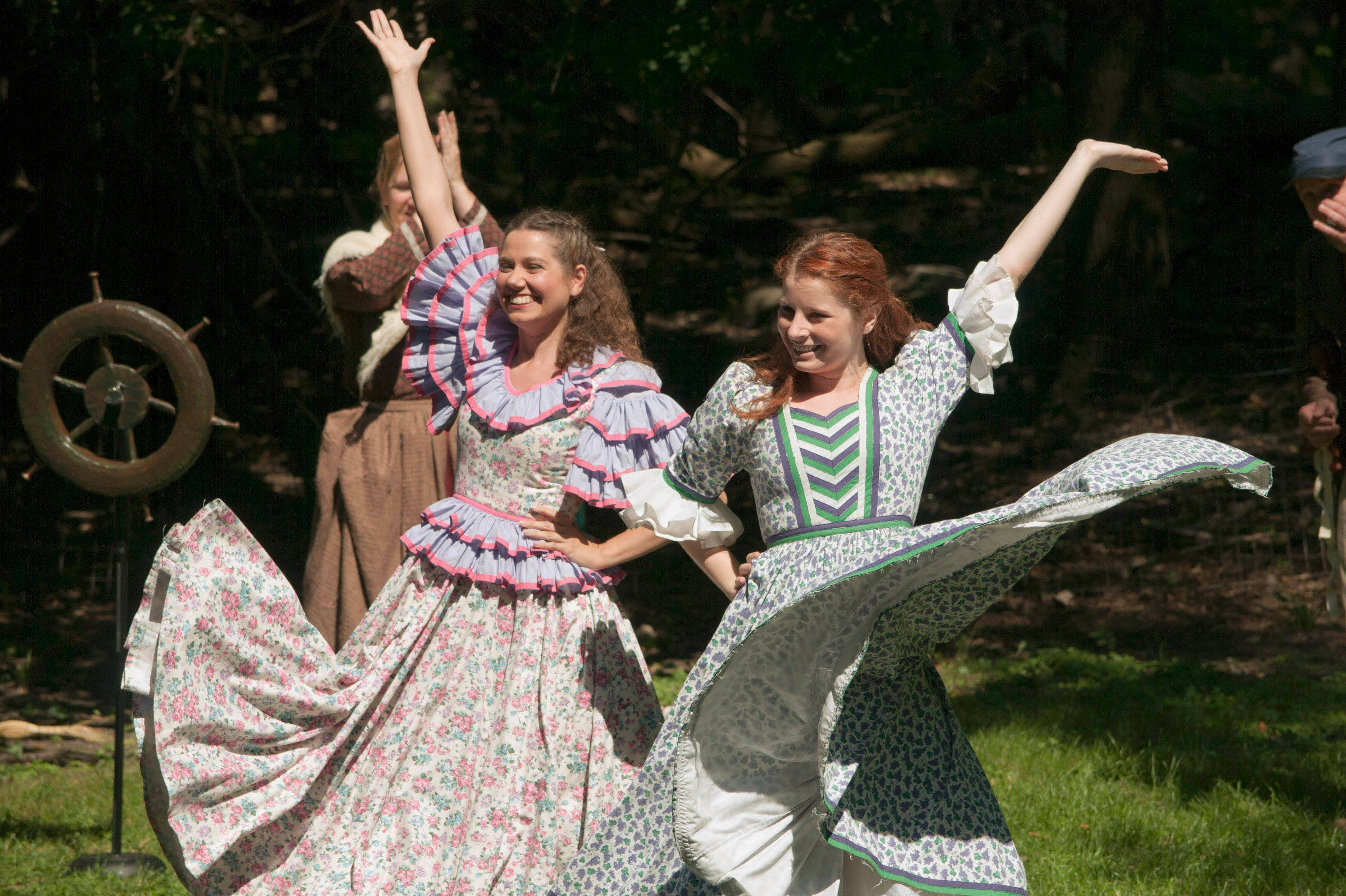 "Jocelyn Adamski, left, and Amanda Lynn Meyer played dancing girls in Theatre-Hikes' production of ""Streeterville"" by G. Riley Mills and Ralph Covert, to be remounted this September."