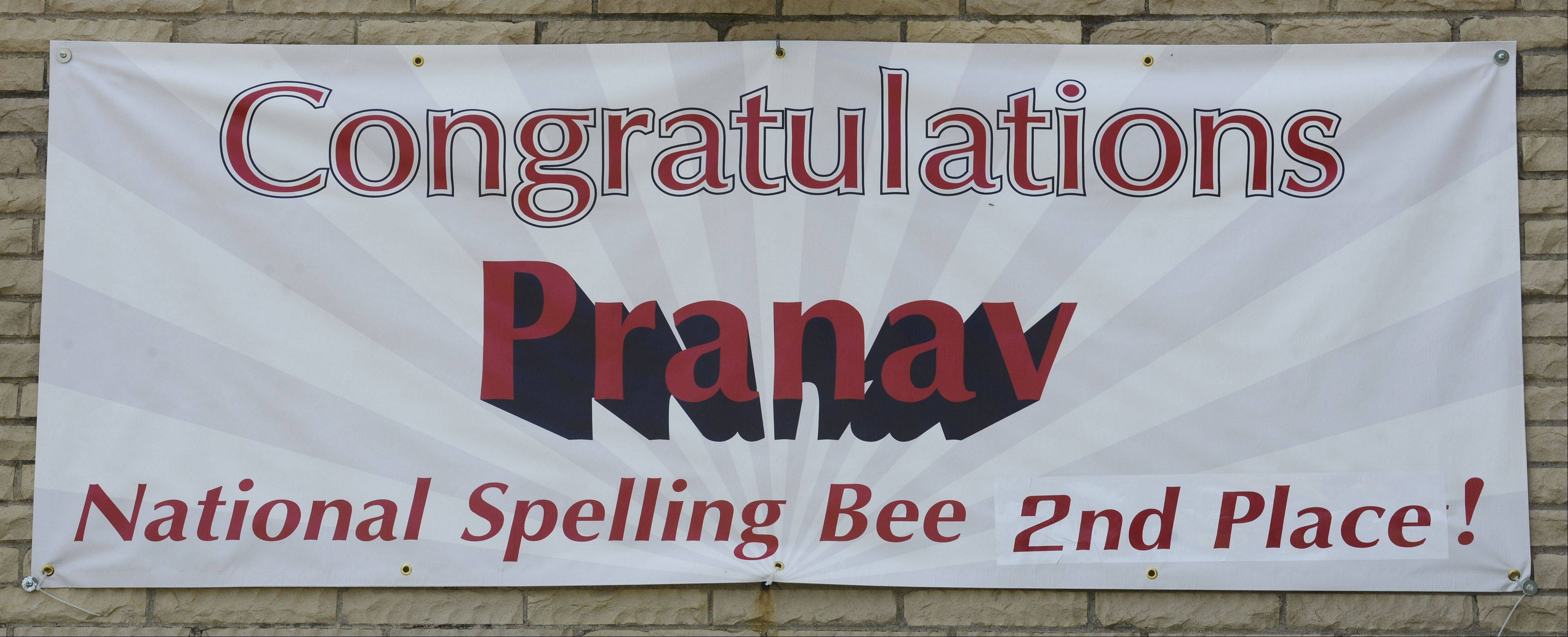 An updated banner outside Station Middle School in Barrington recognizes the second-place finish by student Pranav Sivakumar in the 86th Scripps National Spelling Bee.