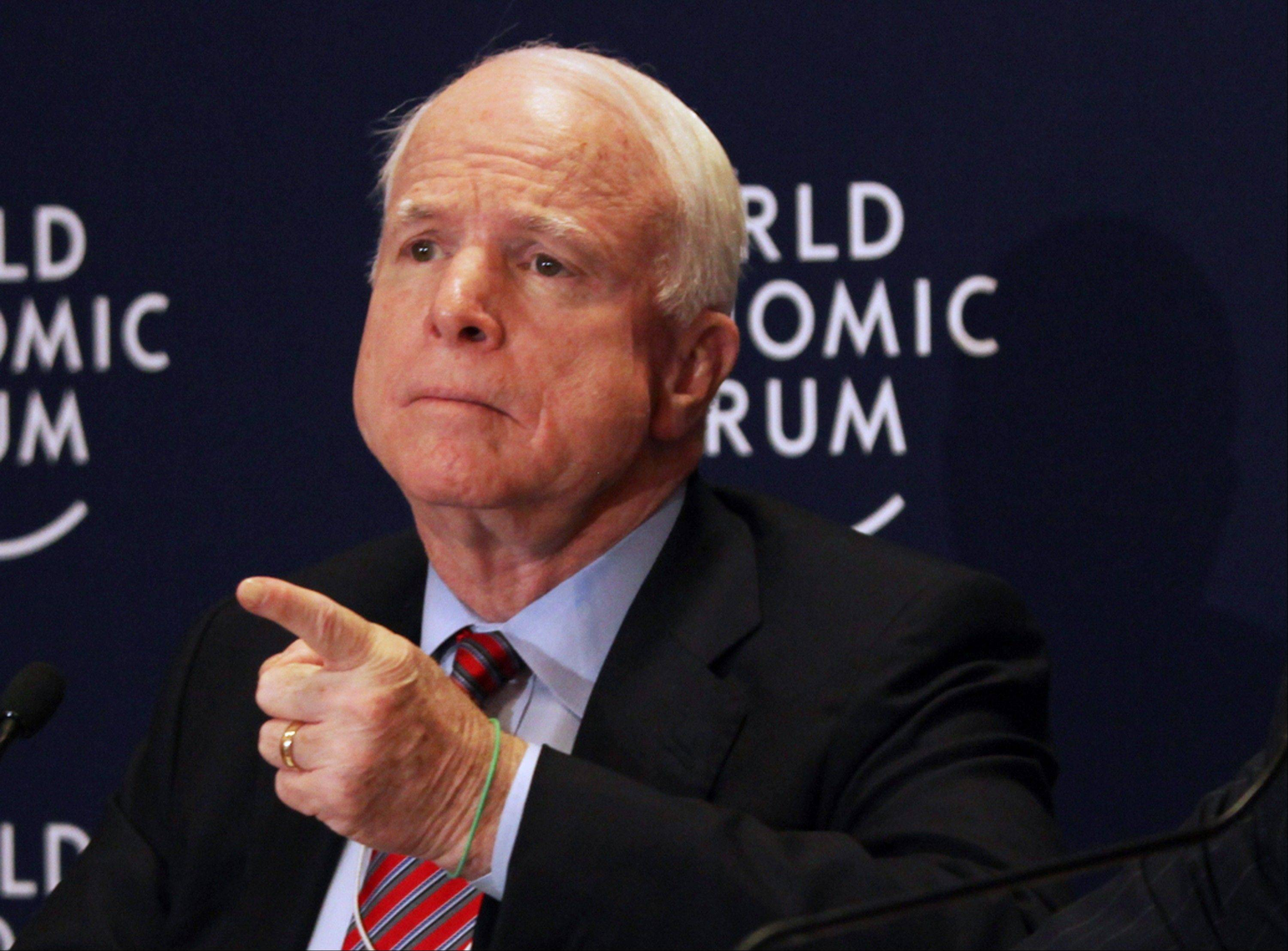 GOP Sen. John McCain of Arizona speaks at a news conference at the World Economic Forum, in Southern Shuneh, southeast of Amman, Jordan. McCain said Friday, the day after he returned from an unannounced trip to Syria, that Syrian rebels battling the forces of President Bashar Assad need ammunition and heavy weapons to counter the regime's tanks and aircraft.