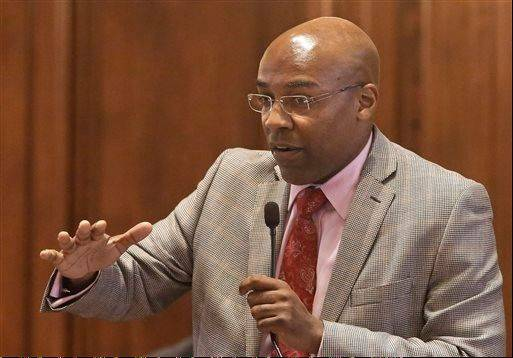 In this May 9 photo, Illinois Sen. Kwame Raoul, D-Chicago, argues legislation while on the Senate floor. Raoul said Tuesday he doesn't expect many cities to declare separate gun-free locales because there are already many statewide restrictions in the bill.