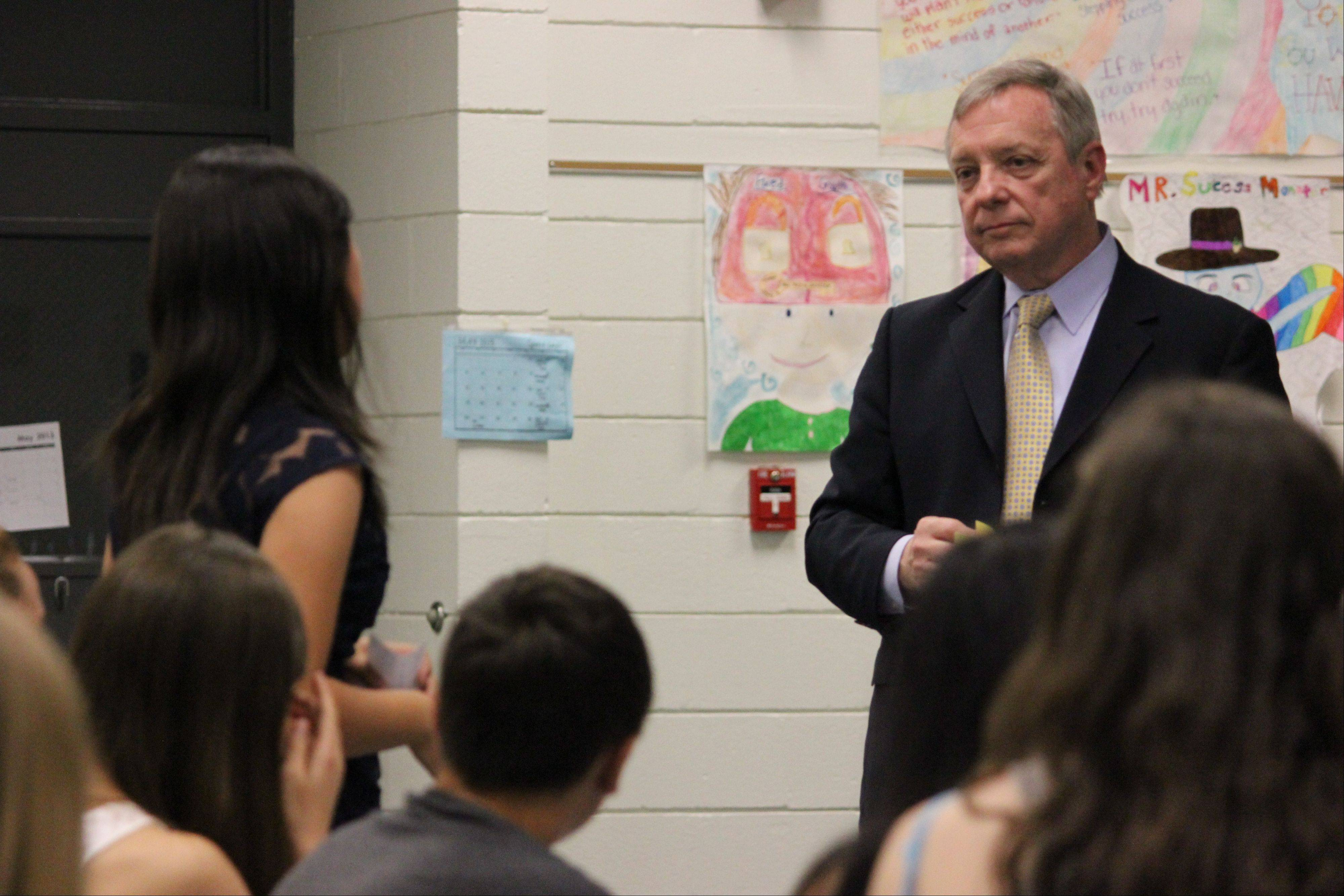 U.S. Sen. Dick Durbin listens to student proposals as well as talking with them about the DREAM Act.