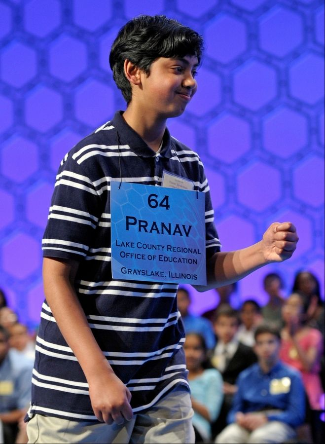 Pranav Sivakumar, 13, of Tower Lakes correctly spelled odontoloxia, Spenglerian, transrhenane, masoola, semainier, faconne, avellaneous, haupia on Thursday night in the finals of the Scripps National Spelling Bee. Pranav attends Barrington Middle School -- Station Campus.