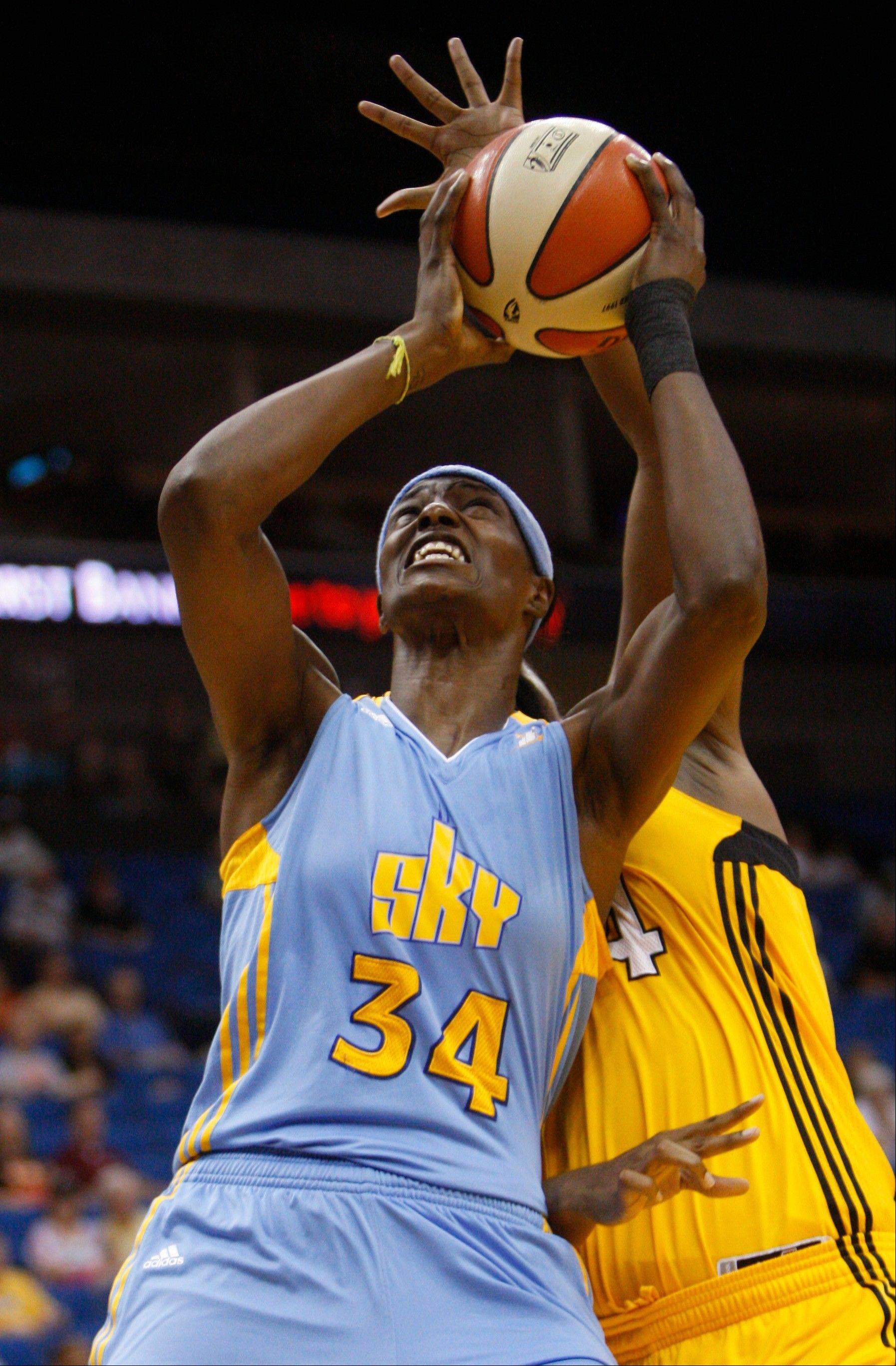 The Sky's Sylvia Fowles rang up a game-high 24 points and snared a career-best 22 rebounds Friday night in the home opener at Allstate Arena.