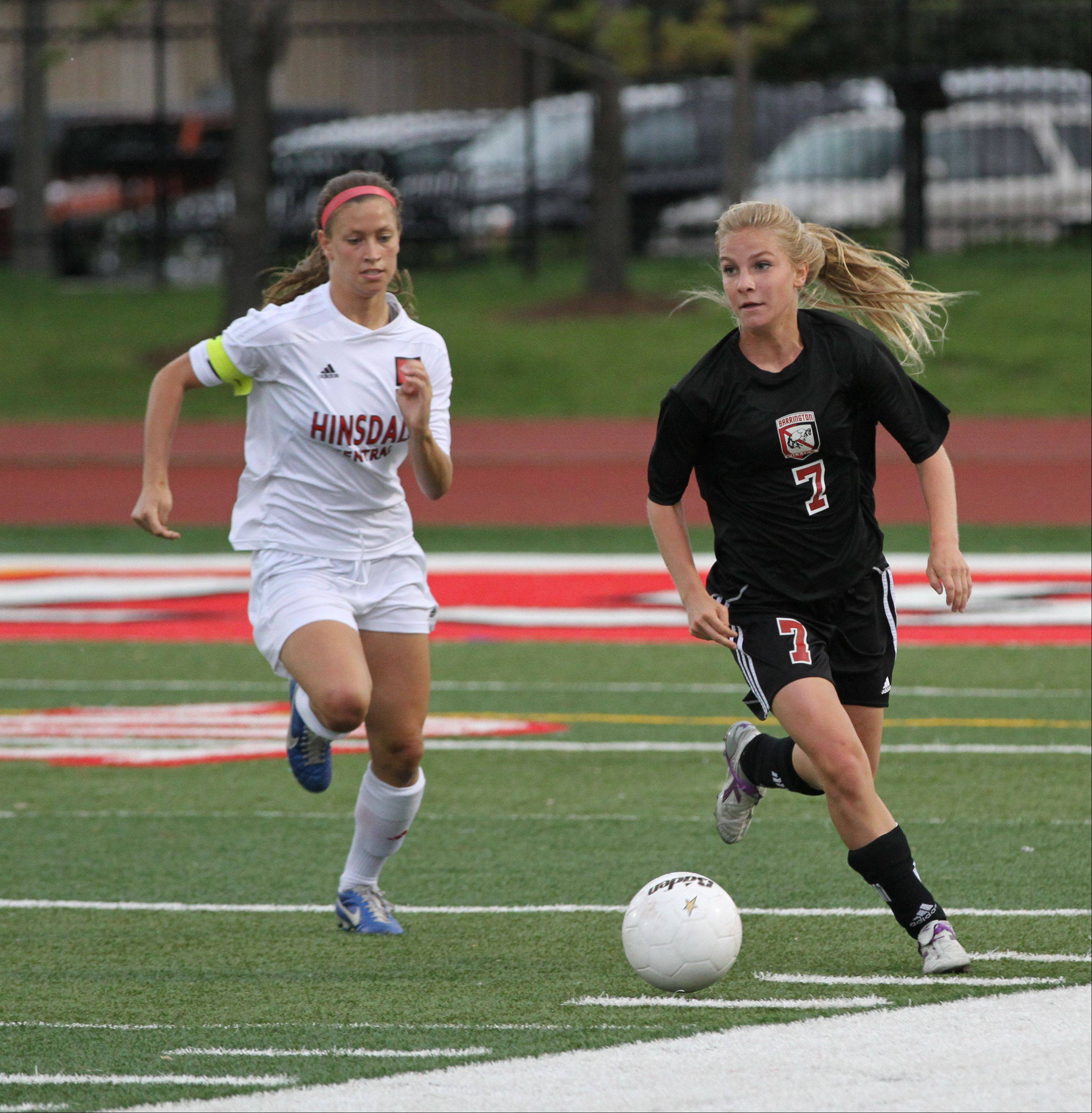 Barrington junior midfielder Alex Avers makes a run in the Class 3A girls soccer state semifinals against Hinsdale Central on Friday at North Central College.