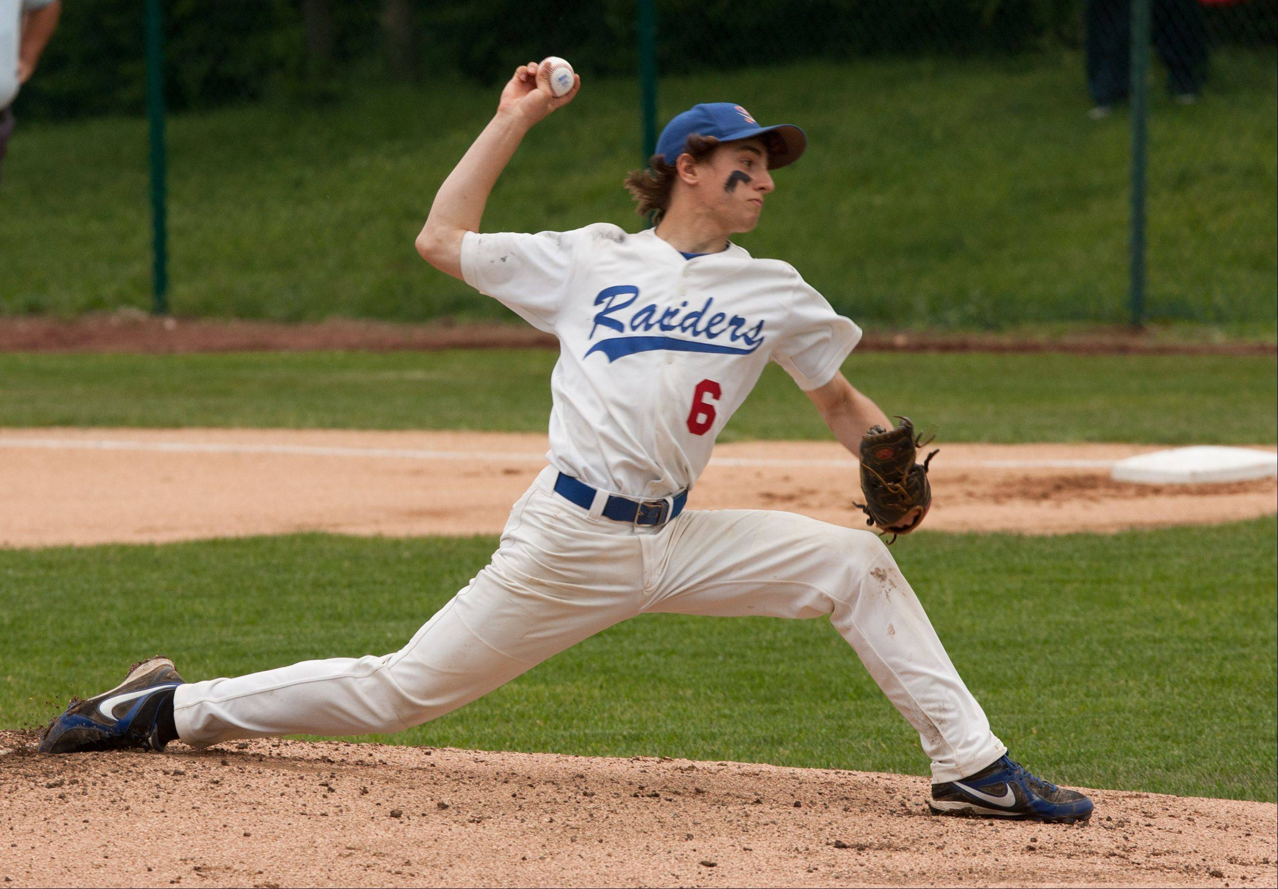 Glenbard South's Ethan Gasbarro delivers a pitch against Clemente during the Nazareth Class 4A sectional semifinals in LaGrange Park.