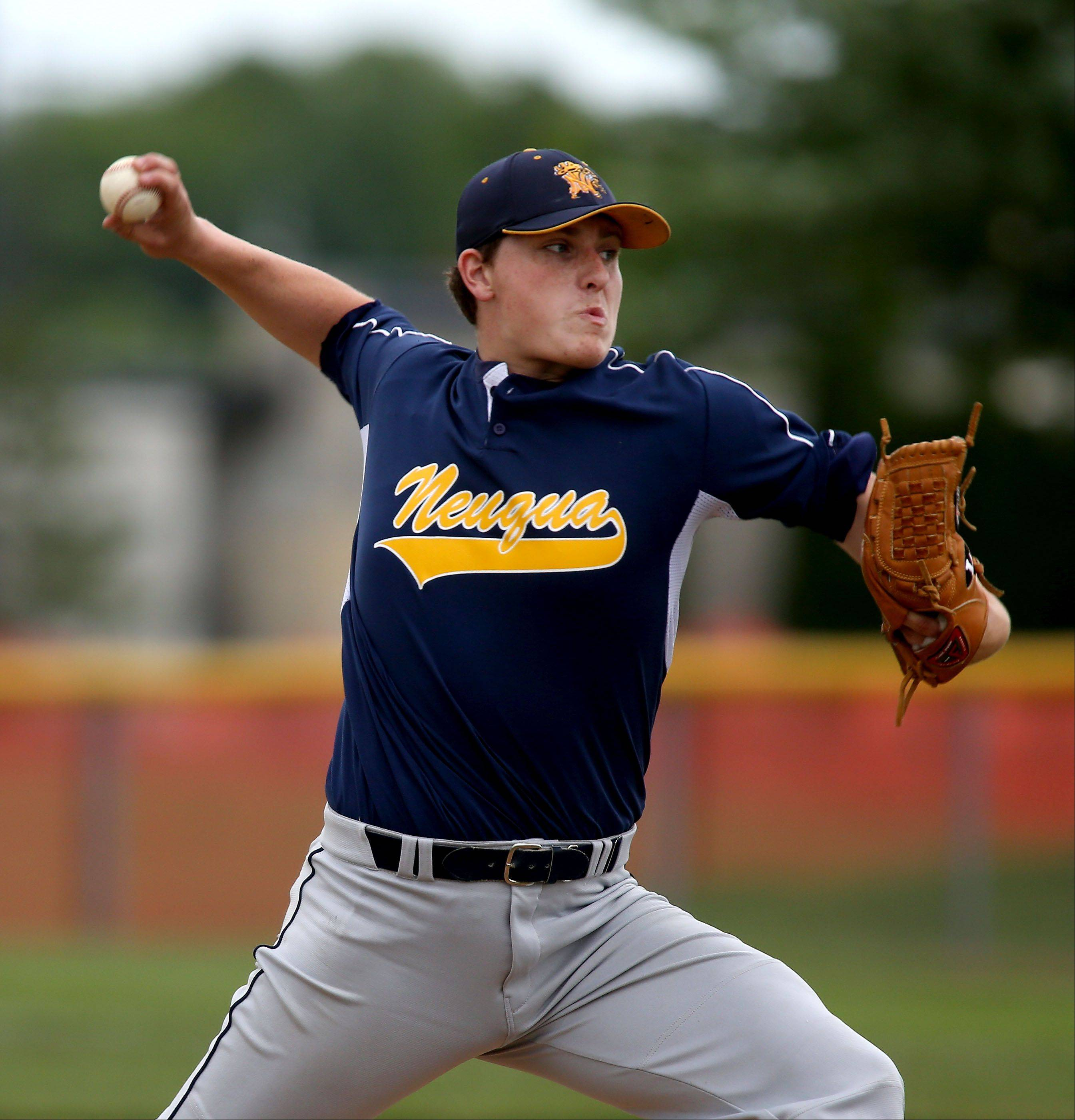 Cody Coll of Neuqua Valley pitches to Plainfield North in Class 4A sectional semifinals on Friday in Naperville.
