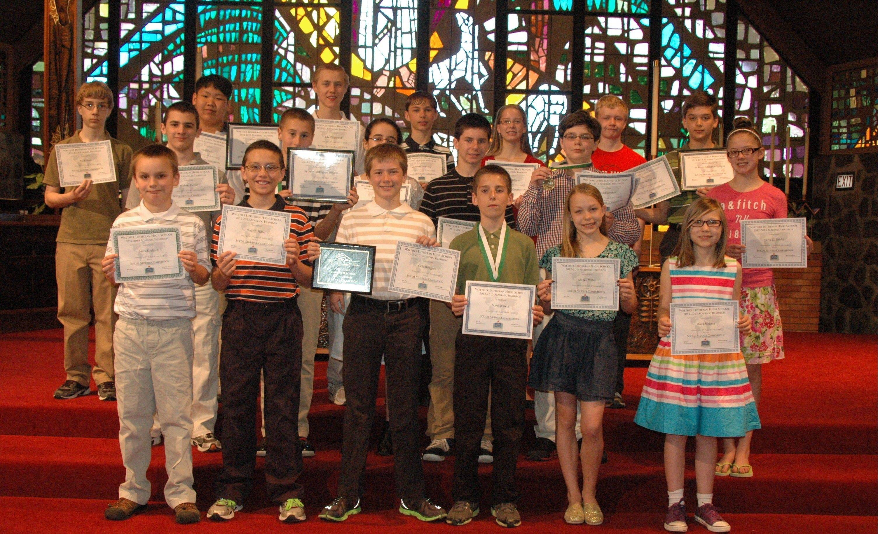Students from St. Peter Lutheran School, in Arlington Heights. The school brought home top honors in social studies at the recent Walther High School Academic Triathlon.