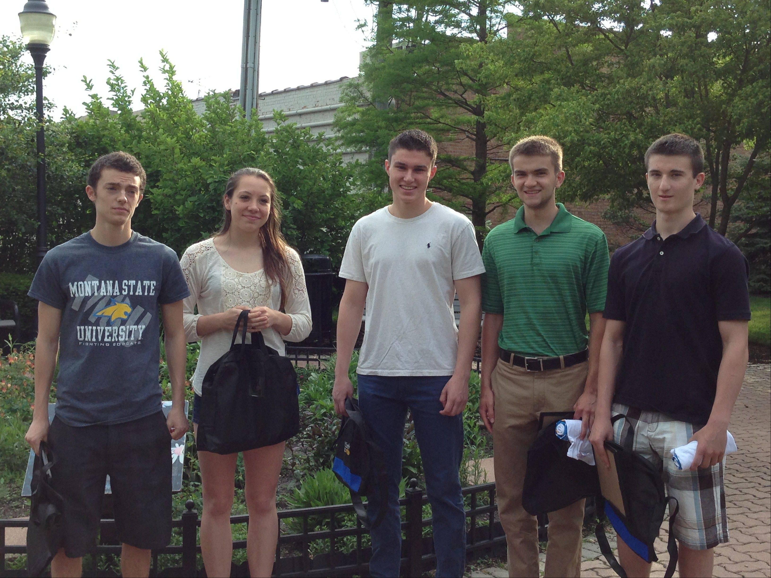 The following students make up the Prospect High School YEA! Class of 2013: Dan Sweet, senior, owner of Striive; Maddy Maloney, senior, owner of HomeBox; Kyle Blatt, senior, co-owner of Zzz Sock; Jeff Blethen, senior, co-owner of Zzz Sock; and Alec Buchanan, sophomore, owner of Oraie.