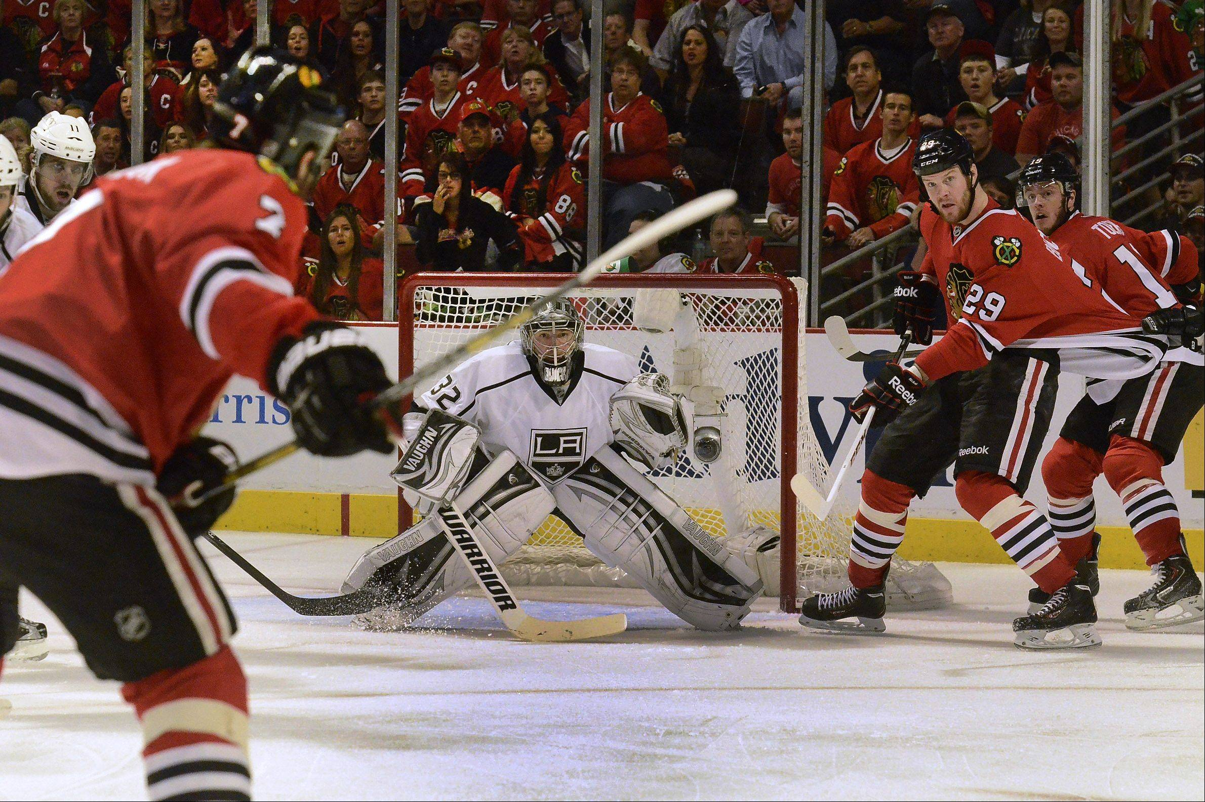 Brent Seabrook winds up for a slap shot on Jonathan Quick during the first period of Game 1 of the Western Conference finals. Quick made 34 saves in the Blackhawks' 2-1 victory.