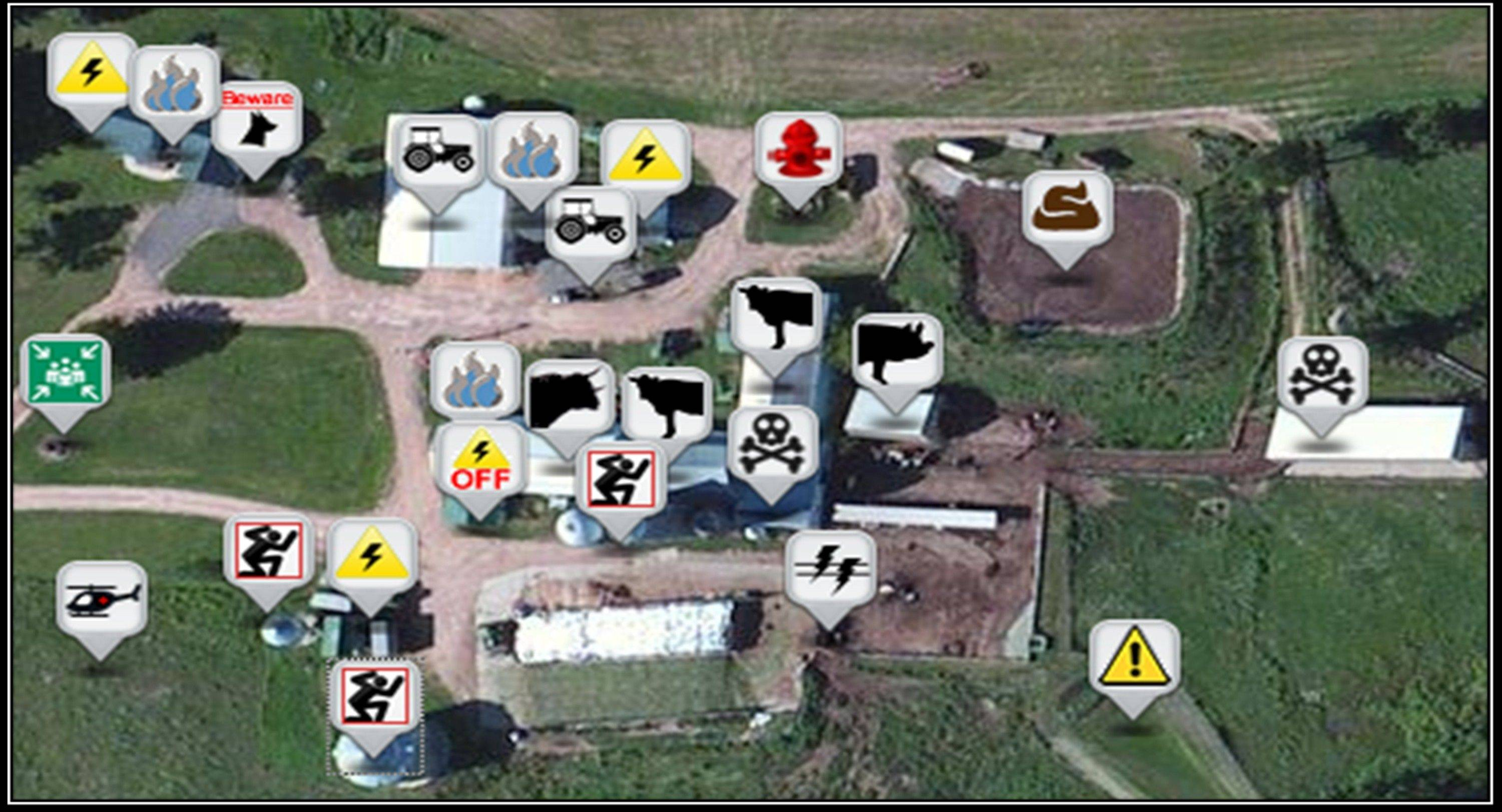 In this undated photo provided by the National Farm Medicine Center is a sample from the Farm MAPPER database showing icons representing farm animals, chemicals, power sources and other dangers on an aerial view of a farm. The organization is working with farmers and firefighters in Wisconsin to develop digital maps that firefighters can use to avoid hazards when they respond to calls on farms.