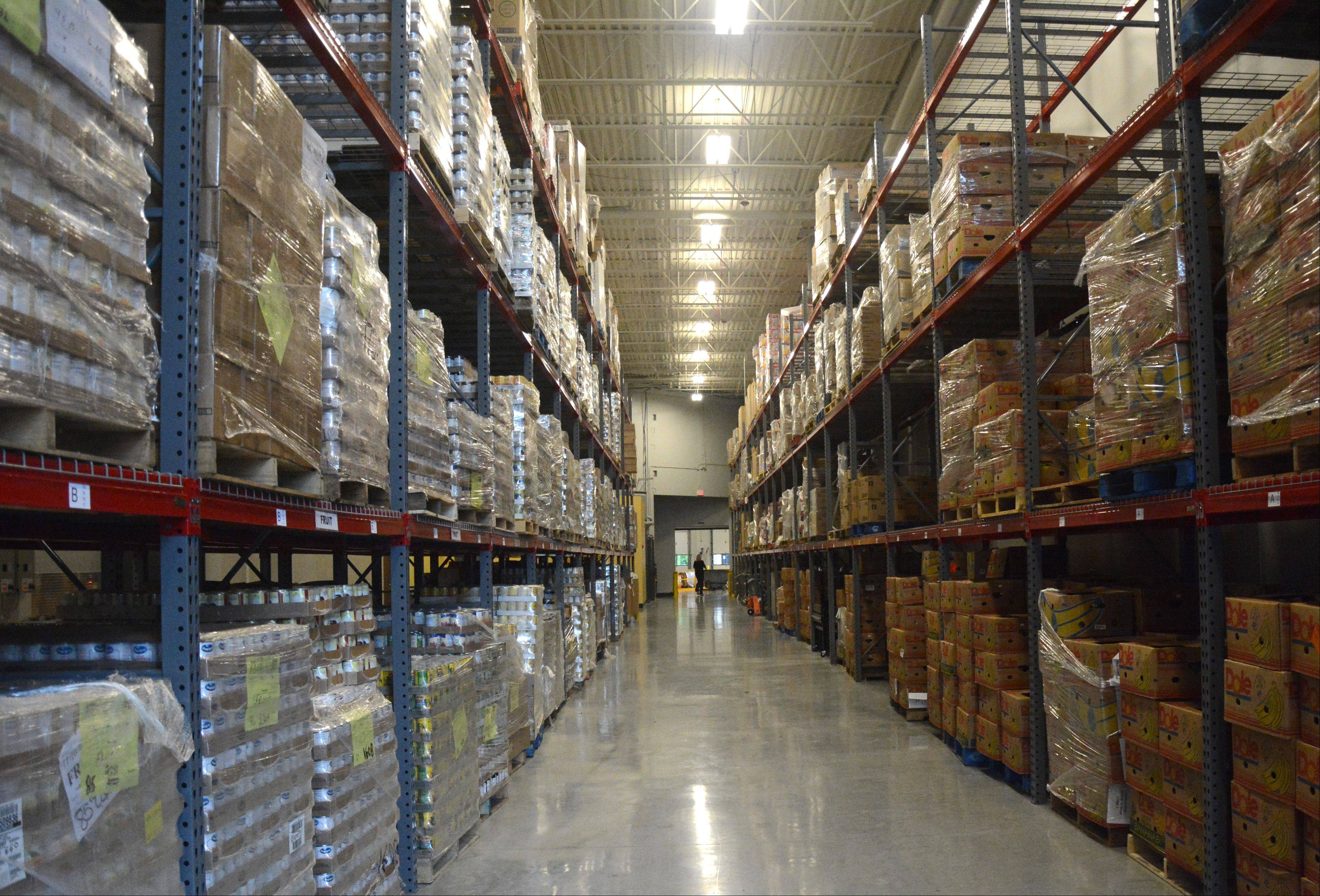 A giant warehouse stores more than 4 million pounds of food at the new Willow Creek Care Center.
