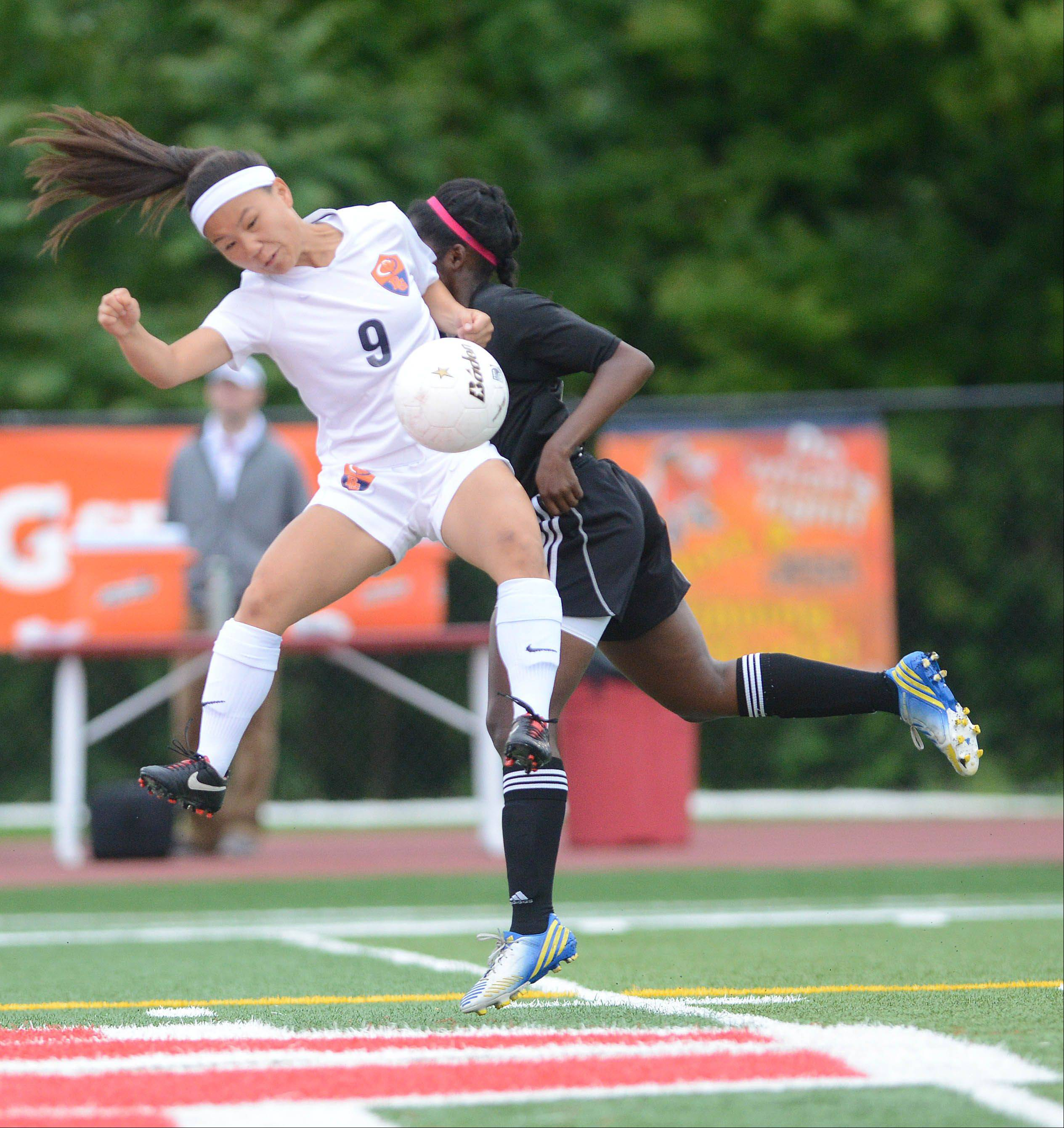 Skylar Groth of Buffalo Grove gets some air during the Class 3A third-place matchup against Barrington on Saturday in Naperville.