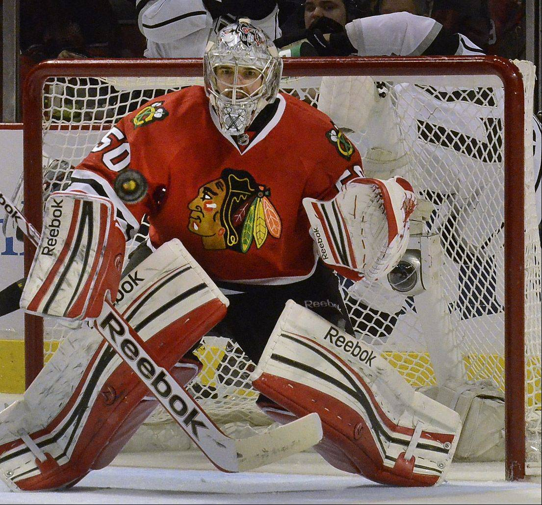 Corey Crawford comes up with a big save in second-period action in Game 1 of the Western Conference finals between the Chicago Blackhawks and the Los Angeles Kings.