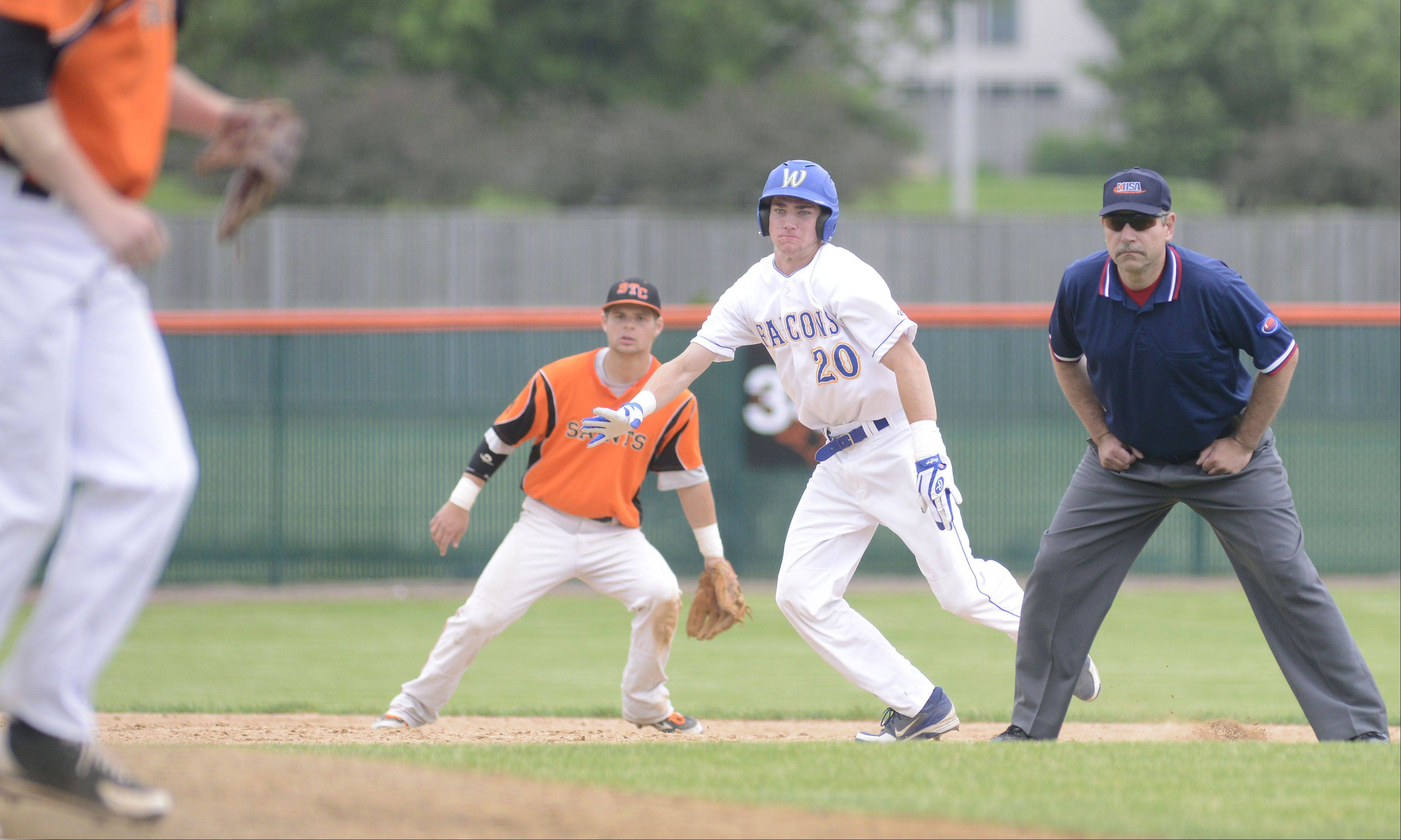 Wheaton North's Andrew Slivinski takes off from second base in the fifth inning of the Class 4A sectional championship on Saturday, June 1.