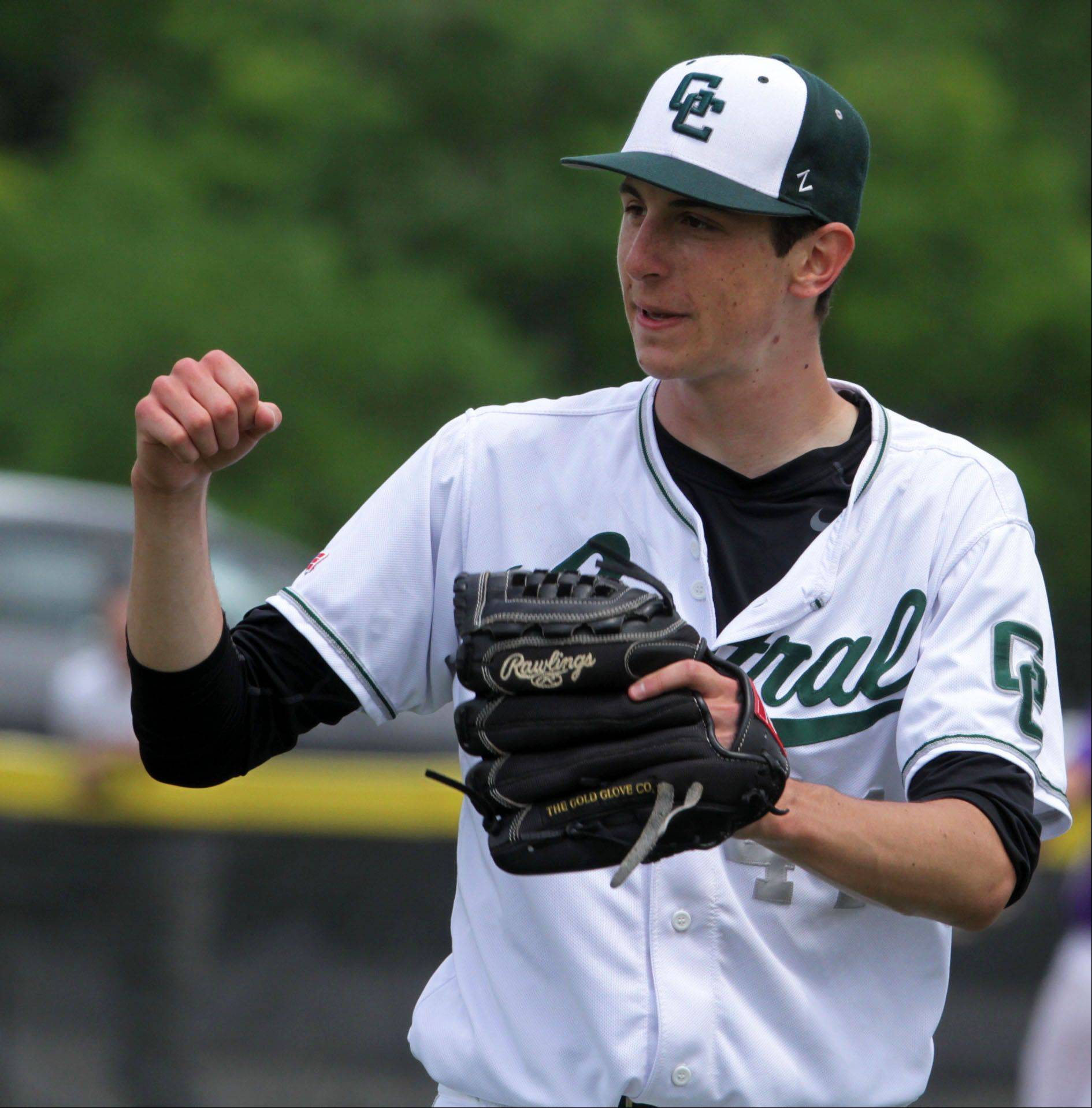 Grayslake Central starter Jack Spicer gives a fist pump after getting the final out of an inning during the Rams' Class 3A sectional victory over Wauconda on Saturday.