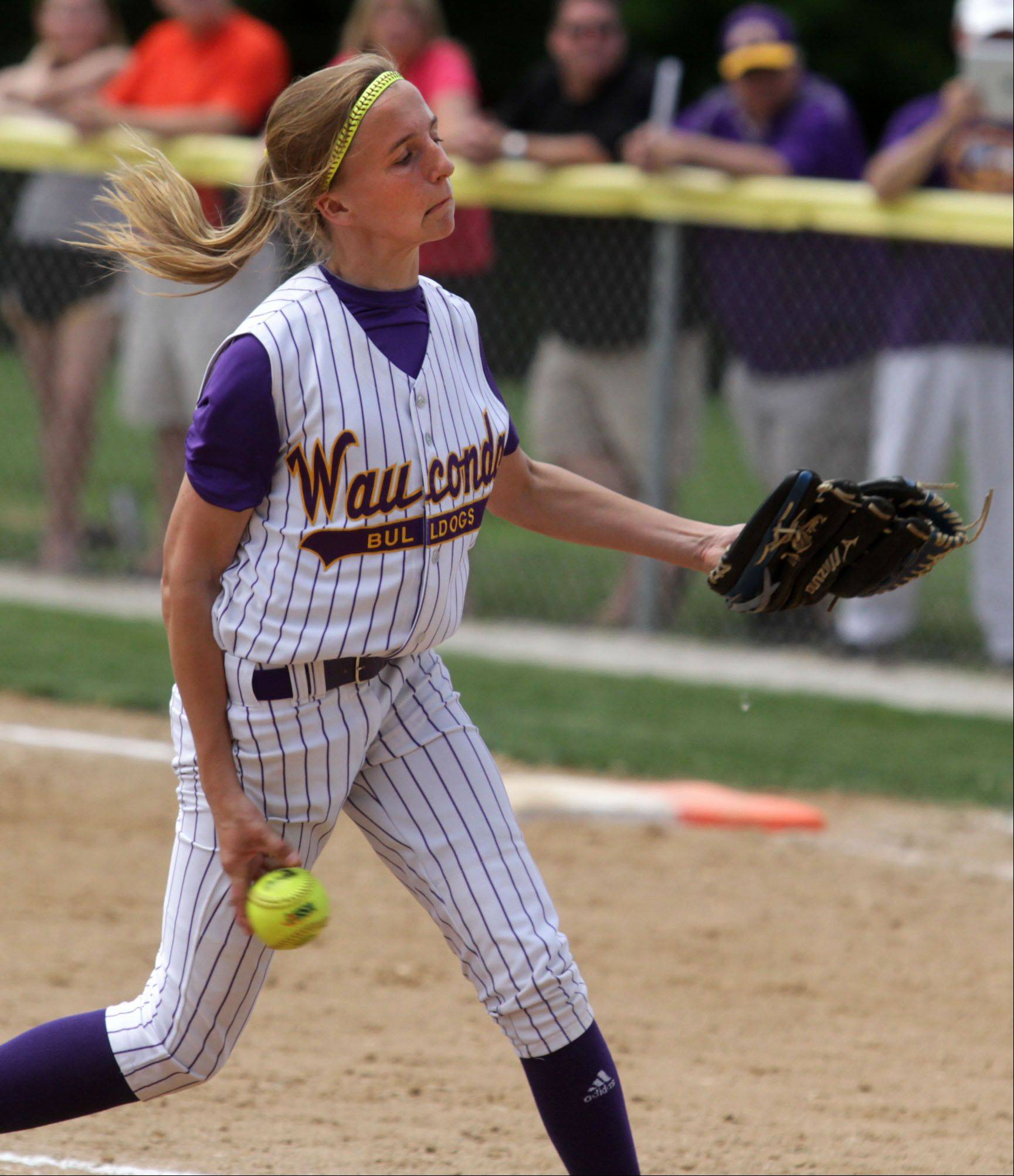 Wauconda's Kayla Wedl delivers against Vernon Hills in Class 3A Grayslake Central sectional championship play Saturday. The Bulldogs won 2-0.
