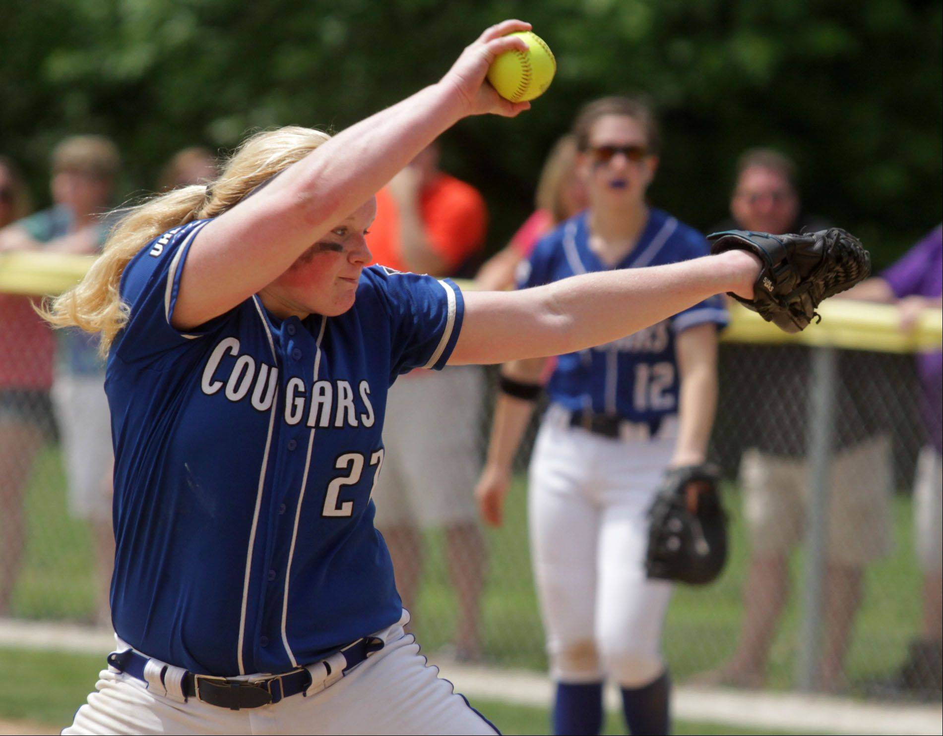 Vernon Hills' Jen Claussen delivers against Wauconda in Class 3A Grayslake Central sectional championship play Saturday.