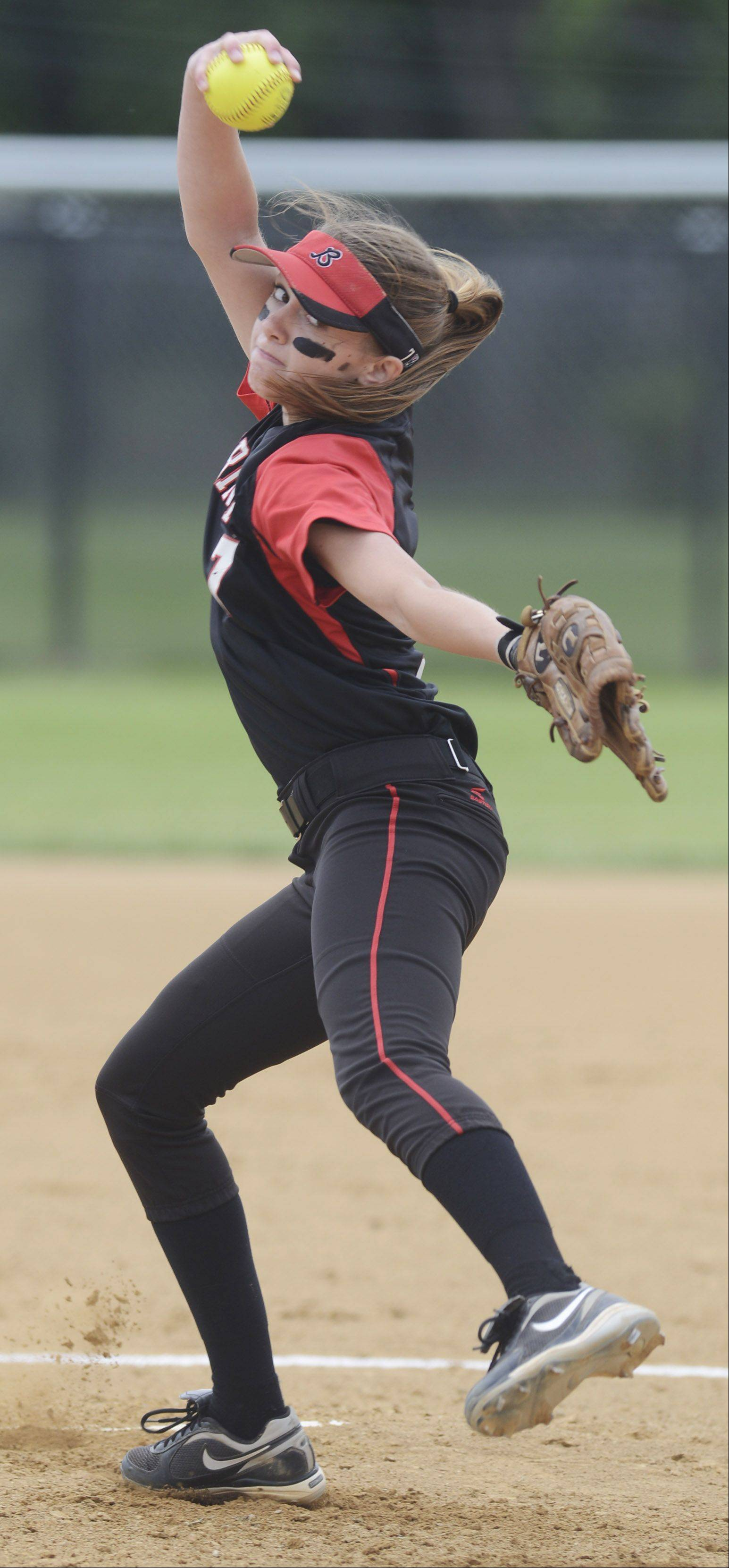 Barrington pitcher Keenan Dolezal delivers to the plate against New Trier during the Rolling Meadows sectional final Saturday.