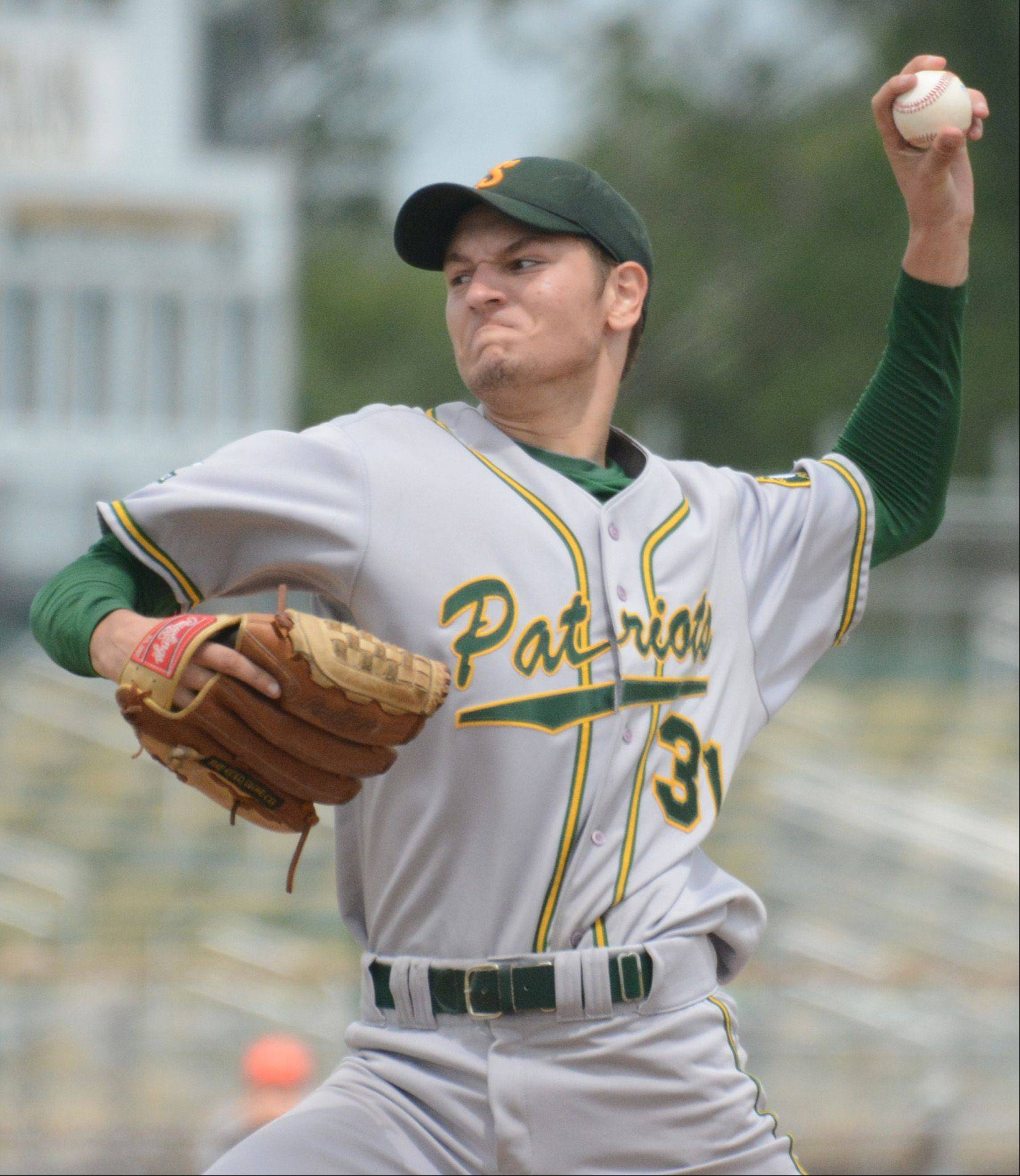 Stevenson pitcher Mitchell Goll delivers in the Class 4A sectional championship game Saturday at Glenbrook North.