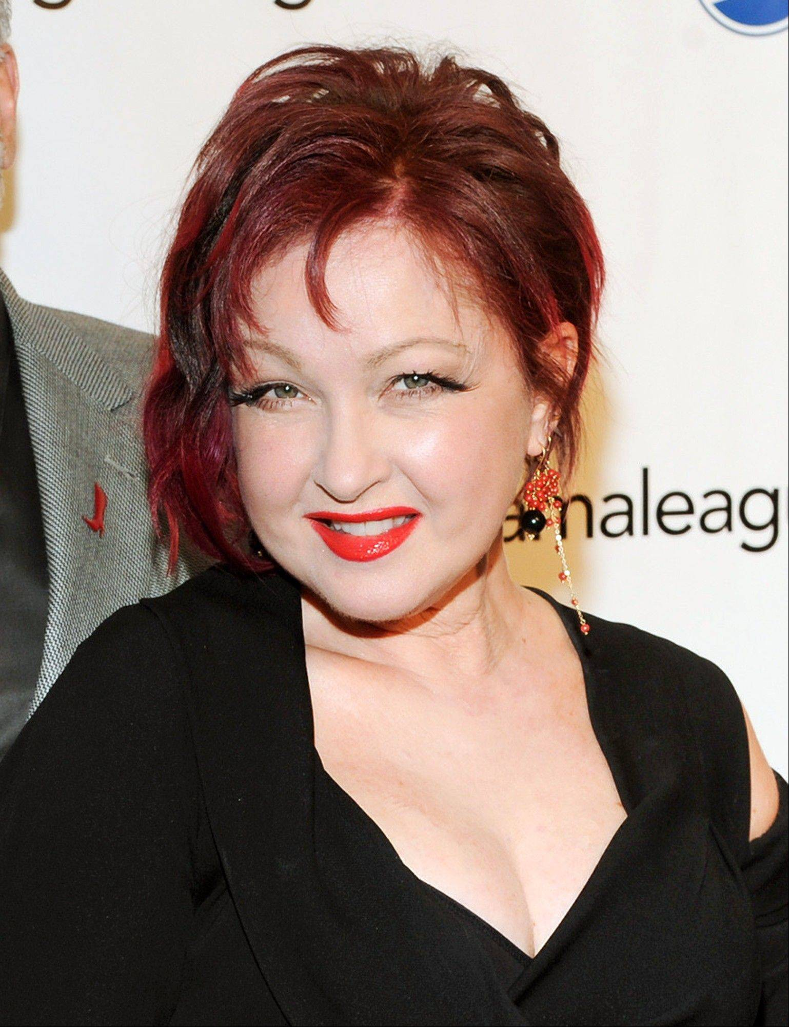 "Cyndi Lauper at the 79th Annual Drama League awards at the Marriott Marquis Times Square in New York. Lauper, along with John Mellencamp, Sarah McLachlan, Tori Amos, Edie Brickell, David Byrne, Fatboy Slim, Burt Bacharach, Elvis Costello and The Flaming Lips are making musicals. Lauper's ""Kinky Boots,"" was nominated for a Tony for best musical."