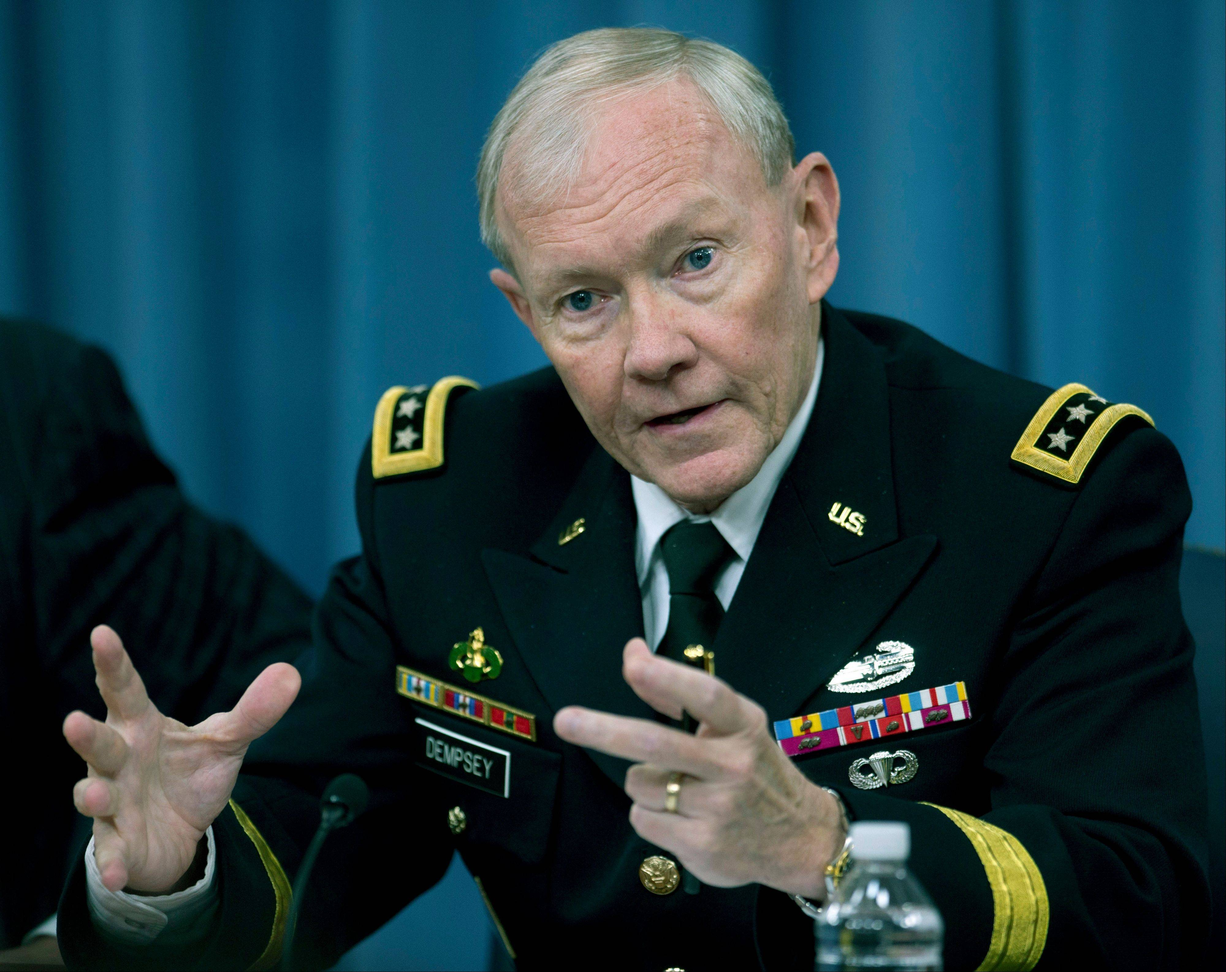 Joint Chiefs Chairman Gen. Martin Dempsey speaks during a news conference at the Pentagon on May 17 to discuss sexual assaults in the military and other topics.