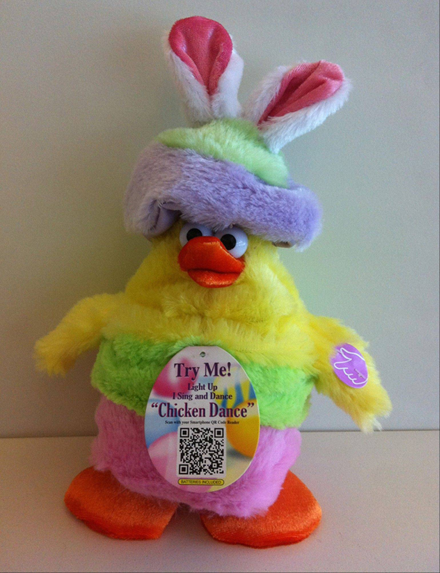 "The Dan-Dee ""Chicken Dance"" Tap Dance Easter Chick. The recalled toy plays music and dances when the left wing is squeezed, but the music can reach decibel levels that exceed the ASTM F963 standard, posing a hearing damage hazard."