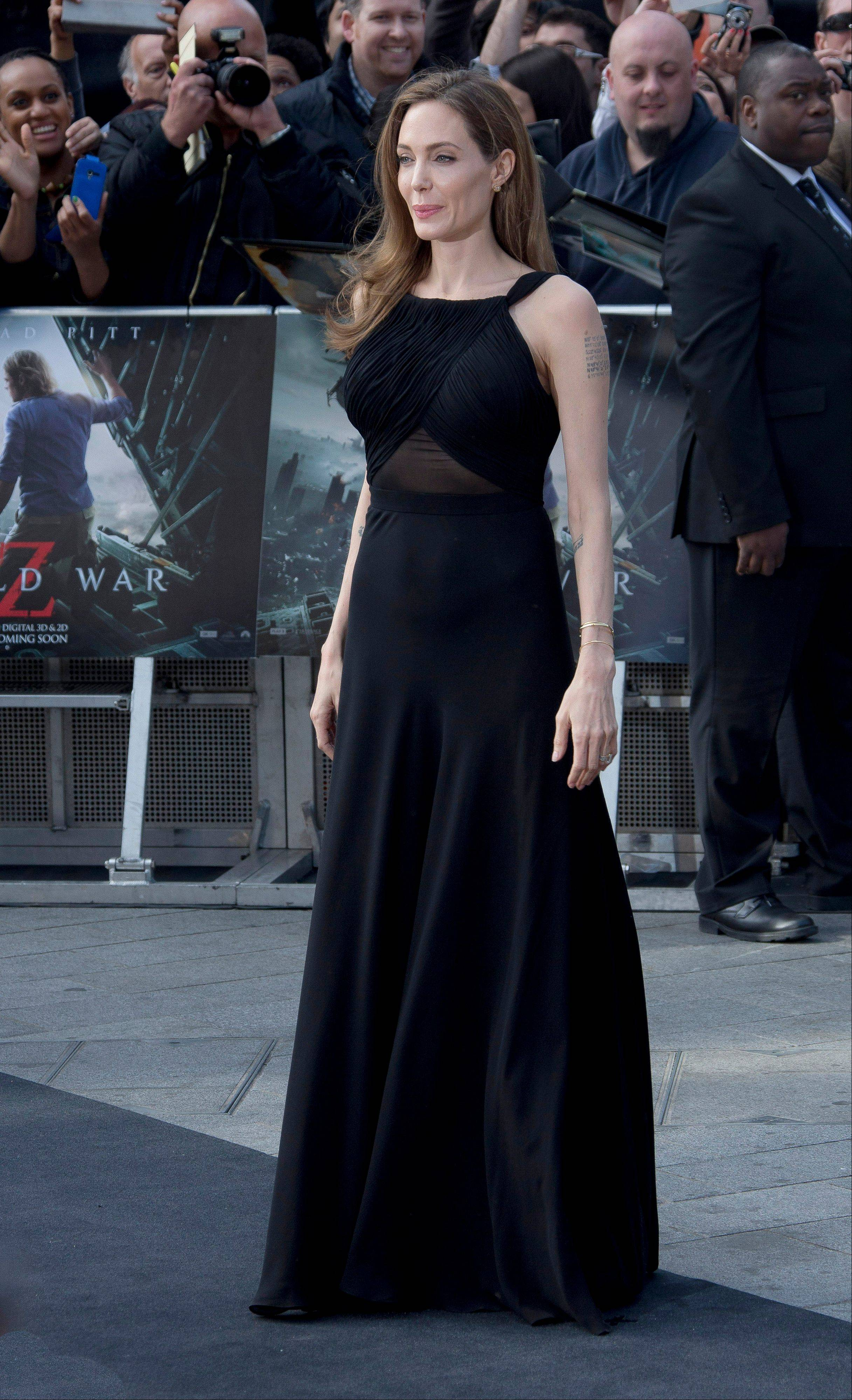 Angelina Jolie arrives for the World Premiere of World War Z at a central London cinema, Sunday, June 2, 2013.