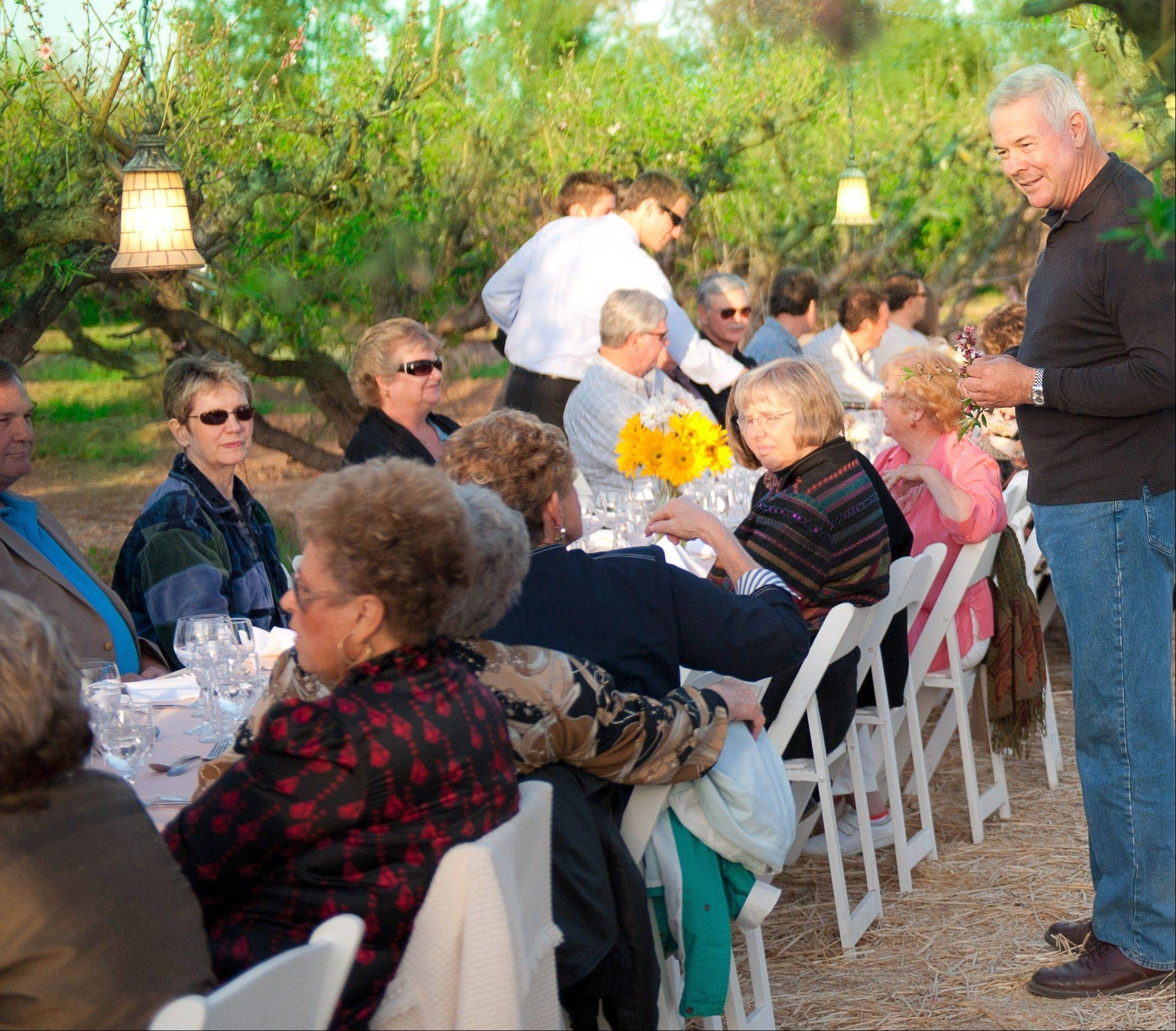 "The third-largest peach grower in Arizona, Schnepf Farms, hosts ""Dinners Down in the Orchard,"" in the middle of their peach orchard."