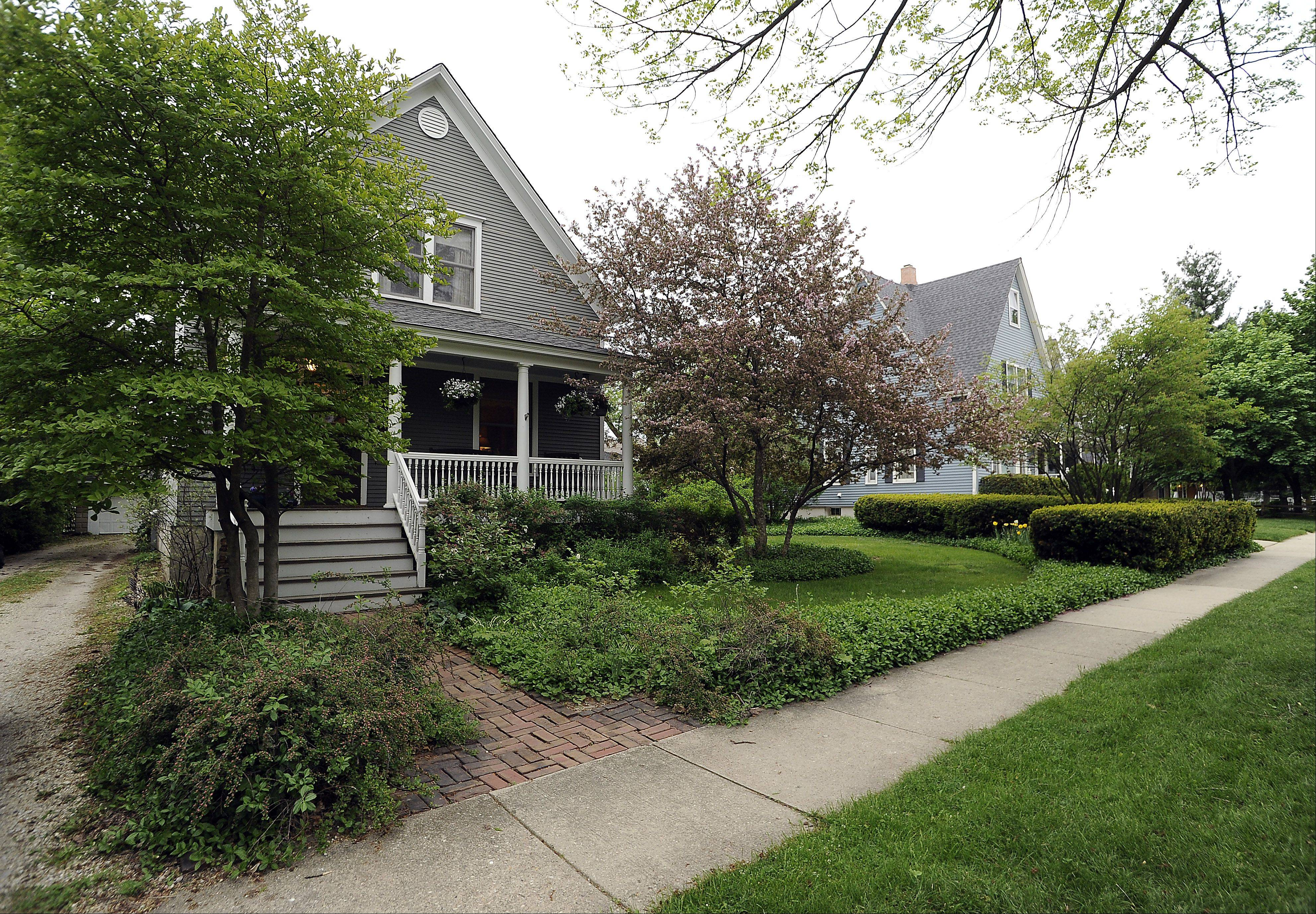 The antique house owes much to the charm of the Arlington Heights street where it stands.
