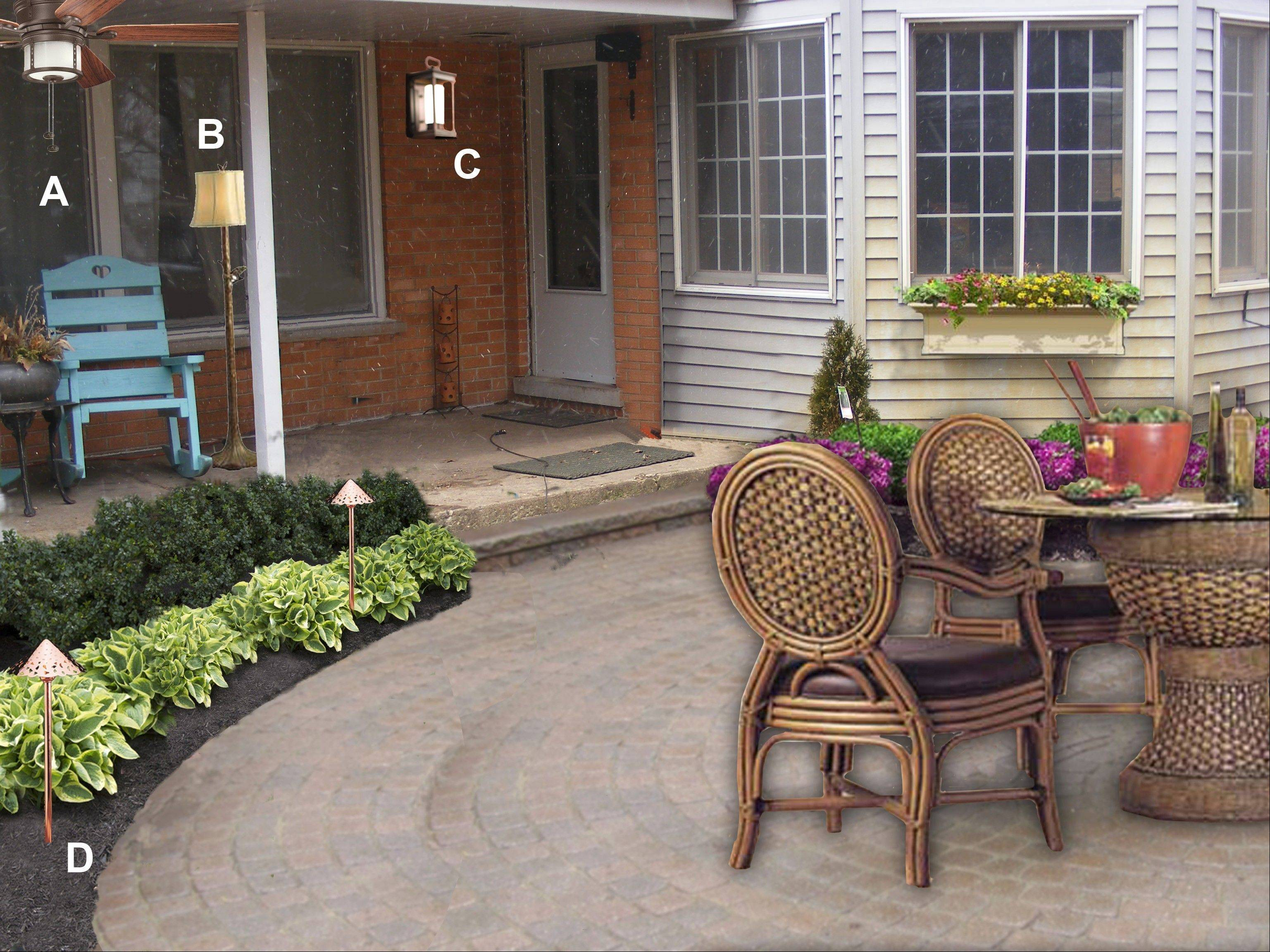 A new paver patio would be topped off with an outdoor ceiling fan under the porch, a coach light for the doorway and LED path lighting to accent the foliage around the patio.