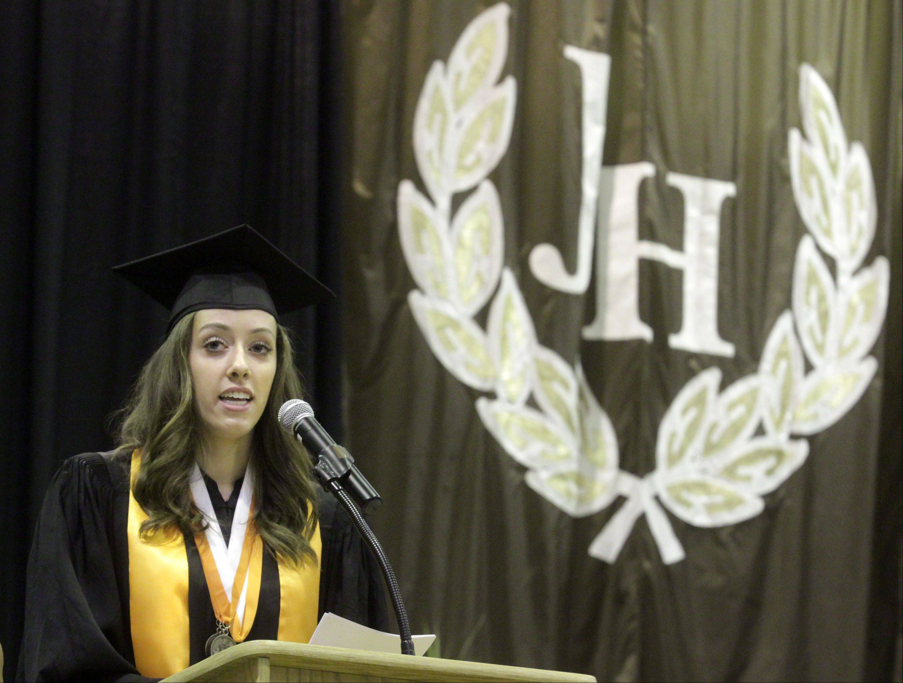 Student council President Lauren Nagle speaks during Hersey High School's commencement exercises in Arlington Heights on Sunday, June 2, 2013.