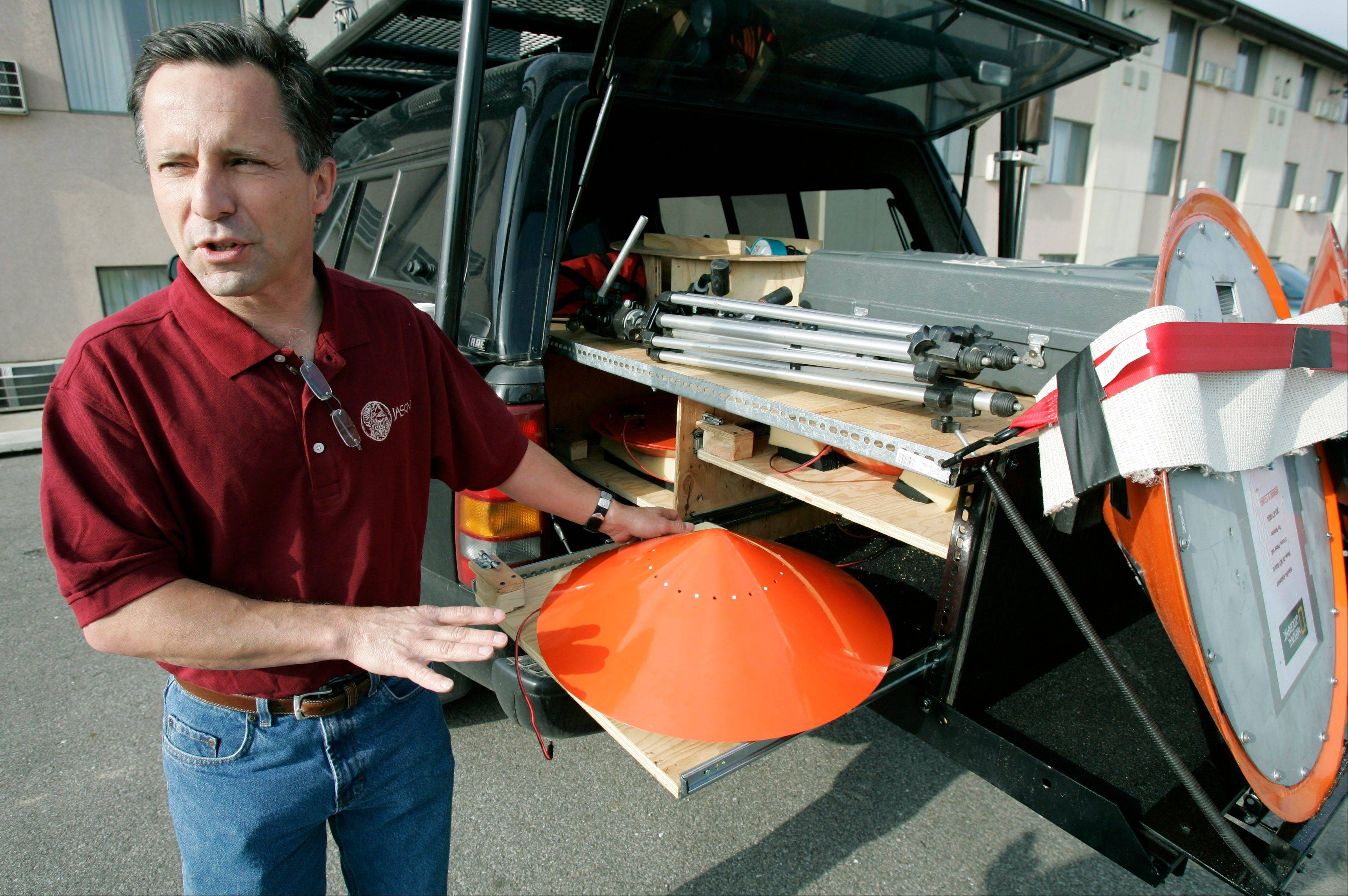 Tornado chaser Tim Samaras is seen here in May 2006. His brother said Sunday that Tim Samaras was killed along with Tim's son, Paul Samaras, and another chaser, Carl Young, on Friday while chasing a tornado near Oklahoma City.