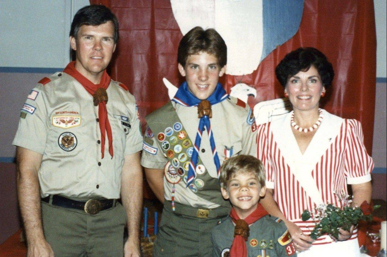 Christopher Lorek knew he was destined to serve his country even when he was an Eagle Scout at age 13, here with his father Bill, mother Janet and younger brother Jason.