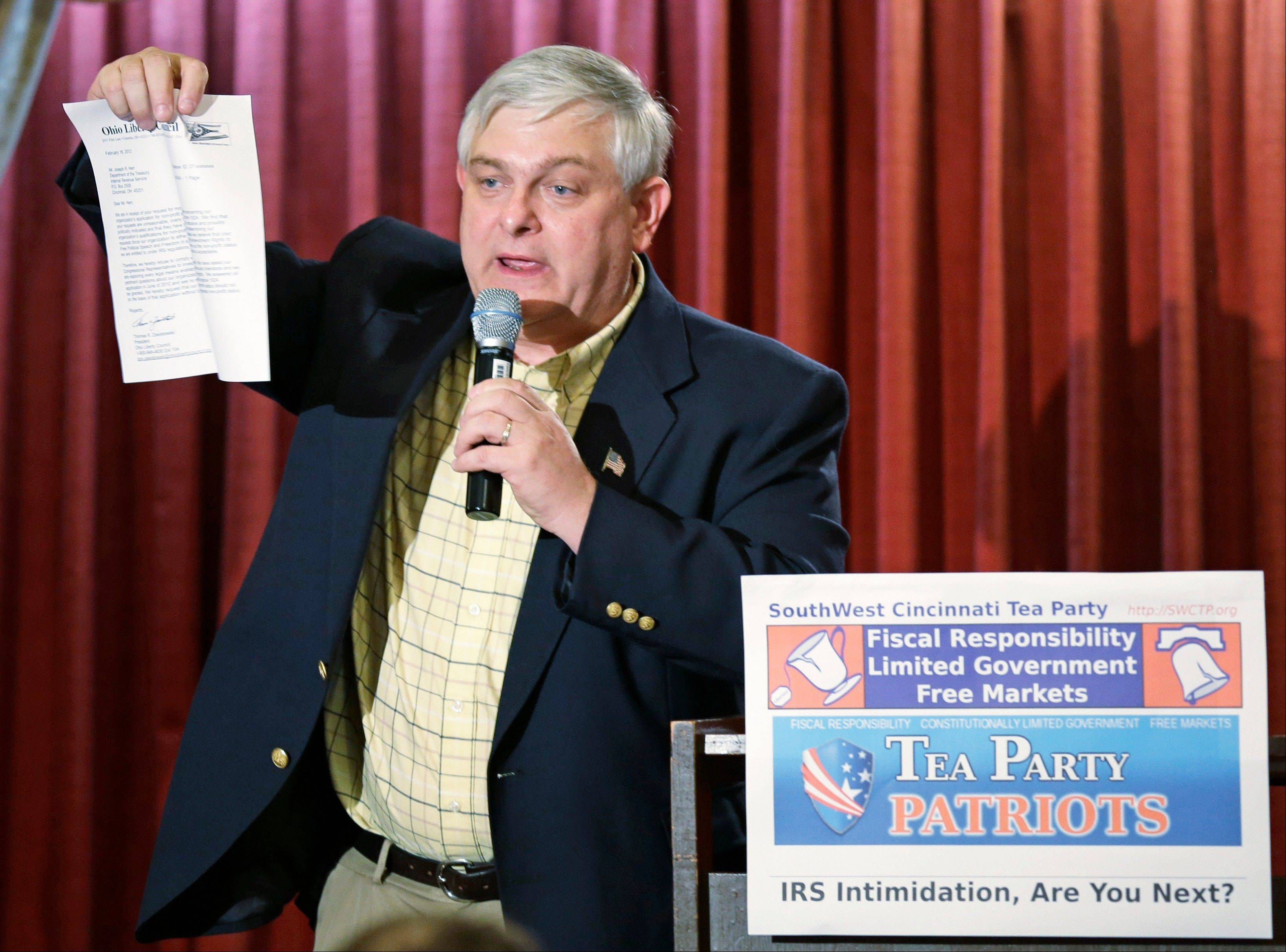 Tom Zawistowski, leader of the Portage County tea party in northeast Ohio, holds up a letter Wednesday he received from the IRS, while speaking at a gathering of tea party groups, in Cincinnati.