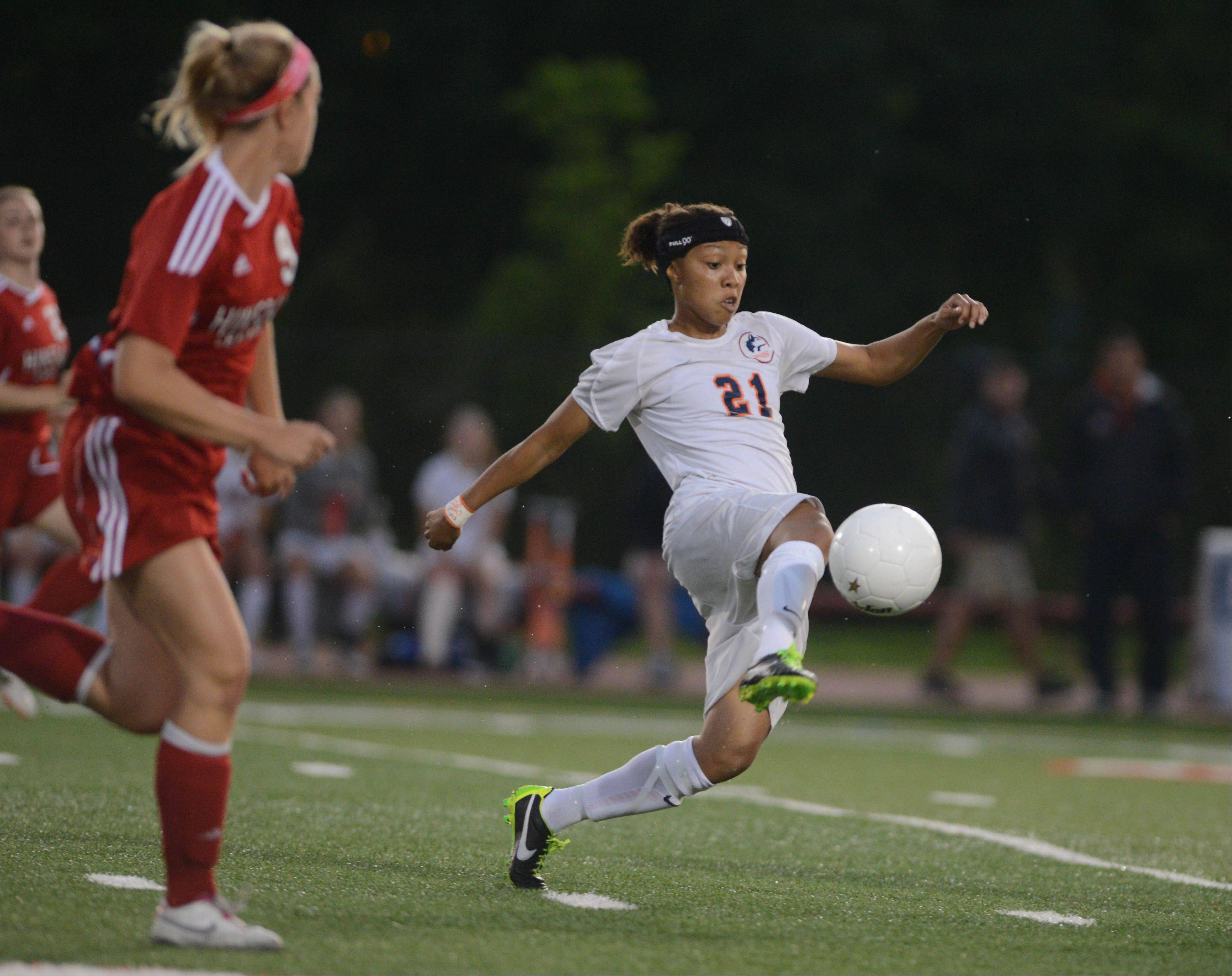 Zoe Swift of Naperville North moves the ball during the Class 3A girls soccer championship match in Naperville Saturday.