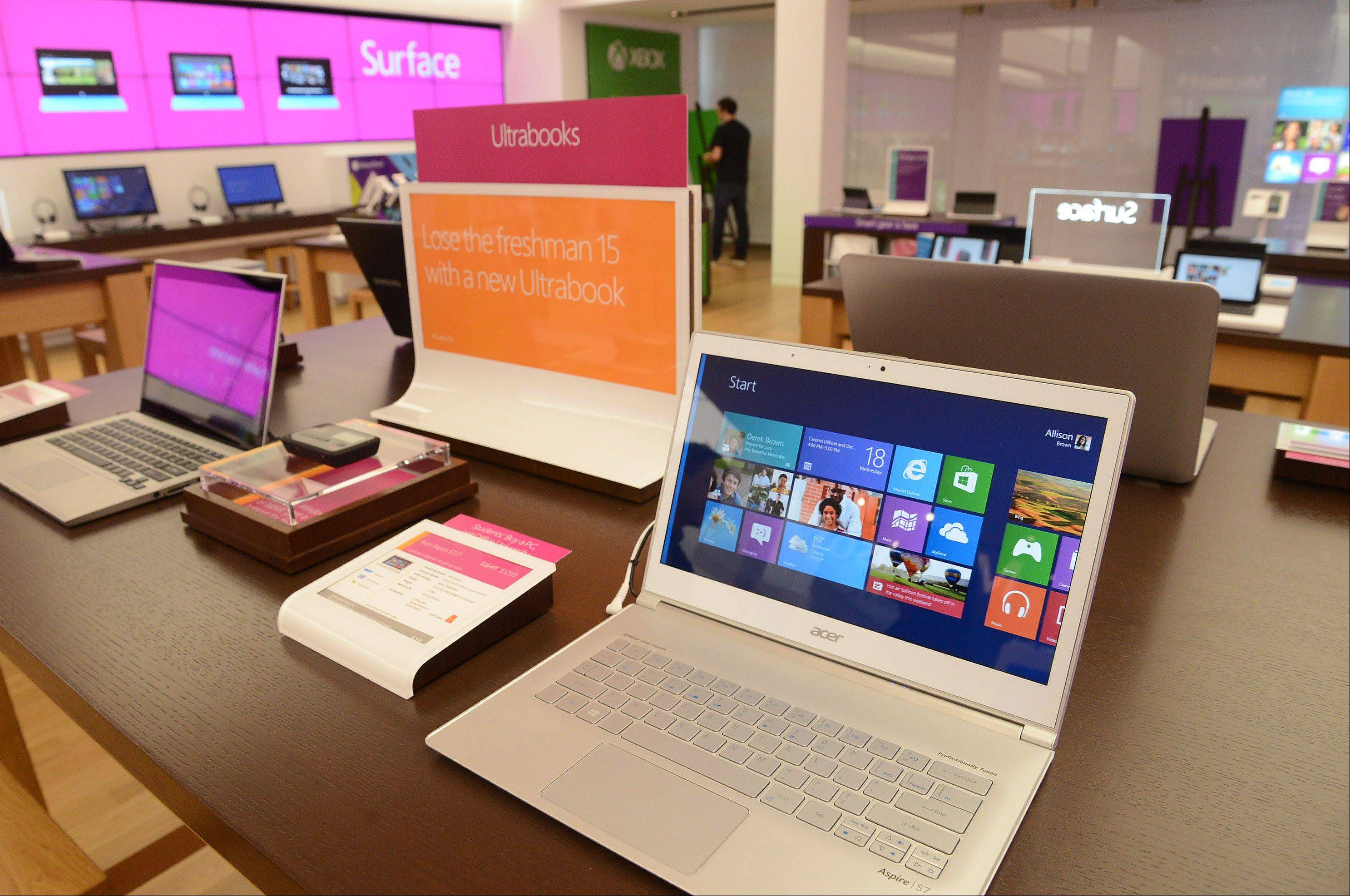 The new Microsoft store features laptops called Ultrabooks, geared toward college-bound students.