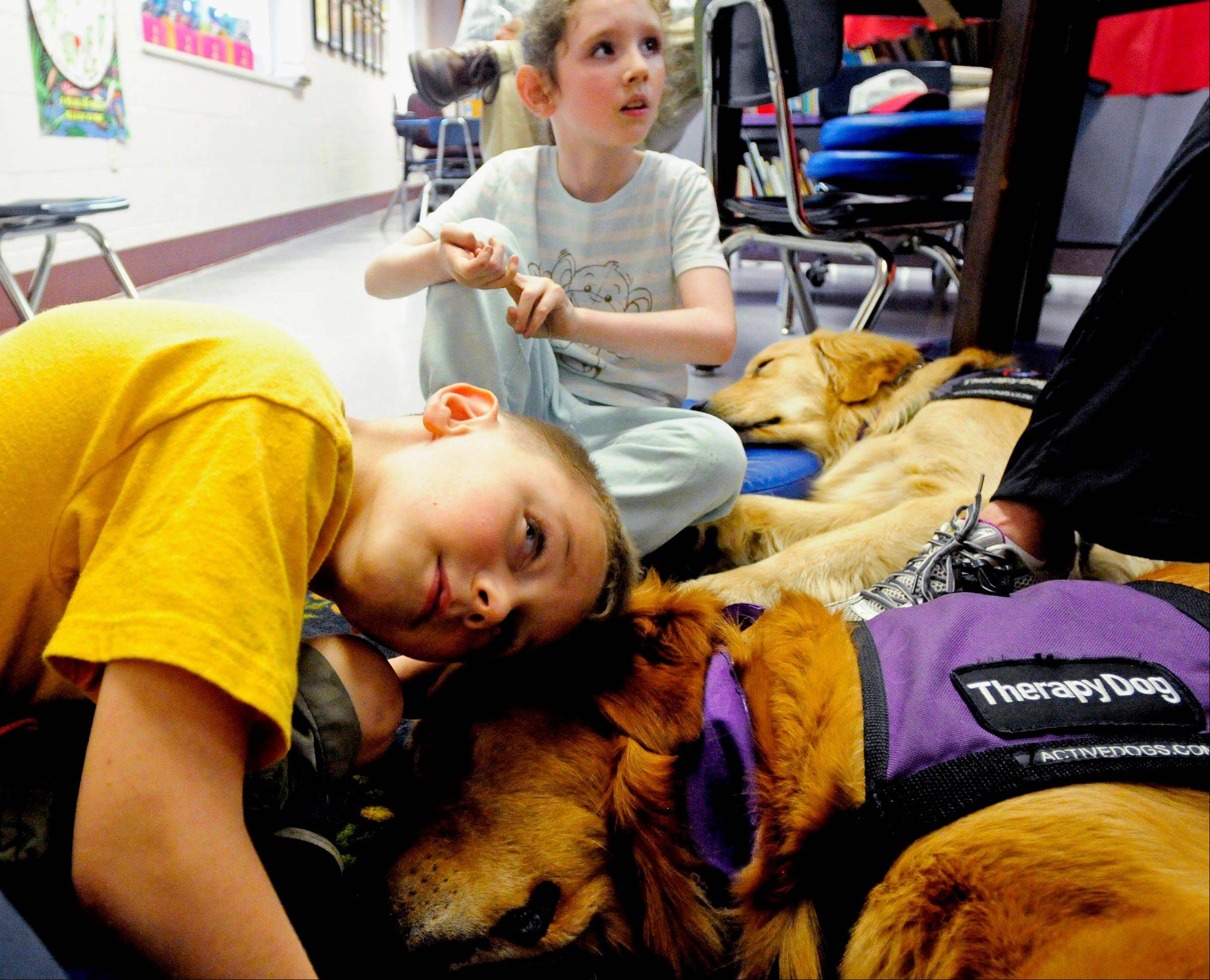 First-grader Kaiden Clinton puts his head against golden retriever Riley, 7, a therapy dog, during a reading session at North Side Primary Care Center .