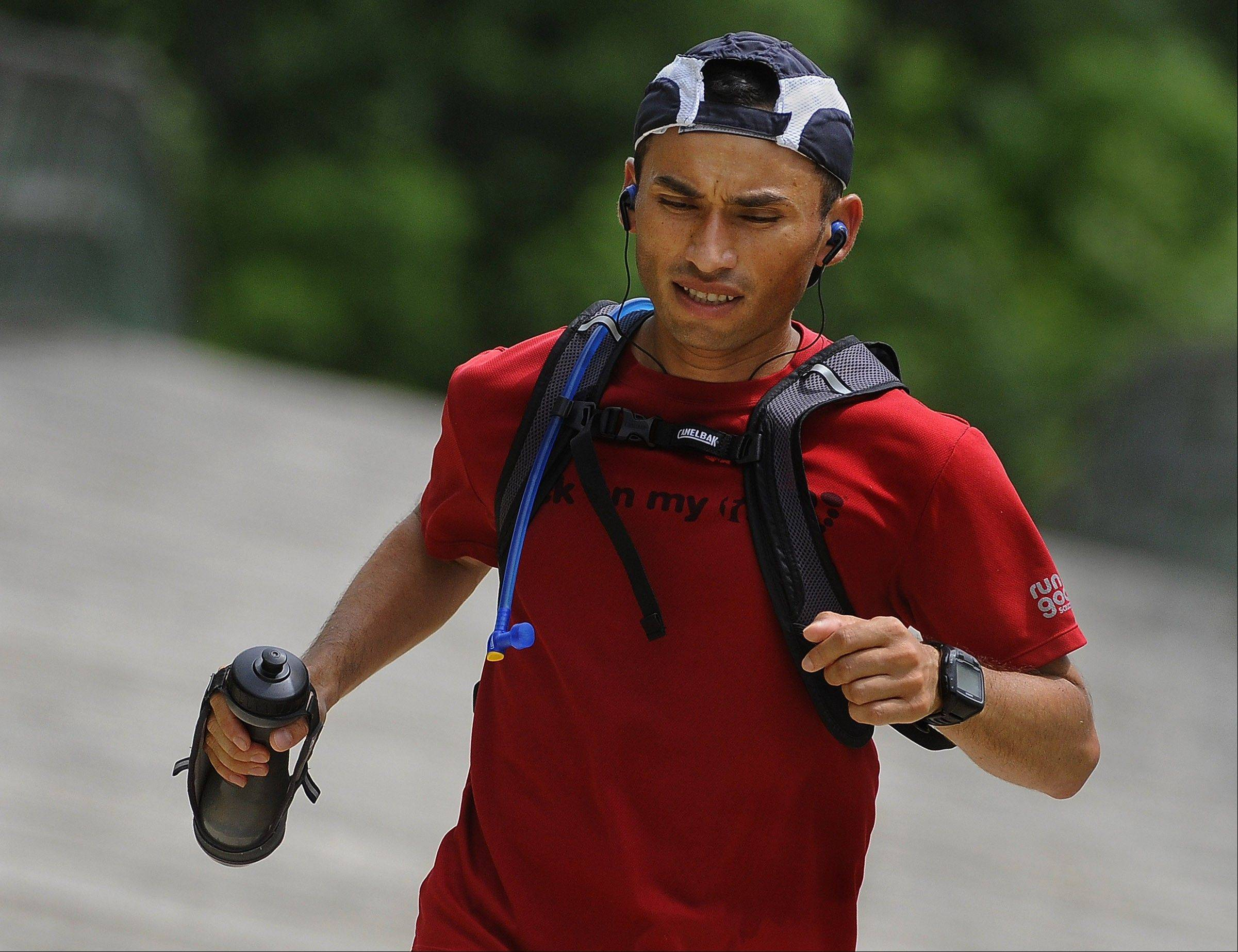 Walter Barrera at the end of a 20-mile training run. Barrera was addicted to crack and crystal meth for years. These days he traded that addiction for another: long-distance running.