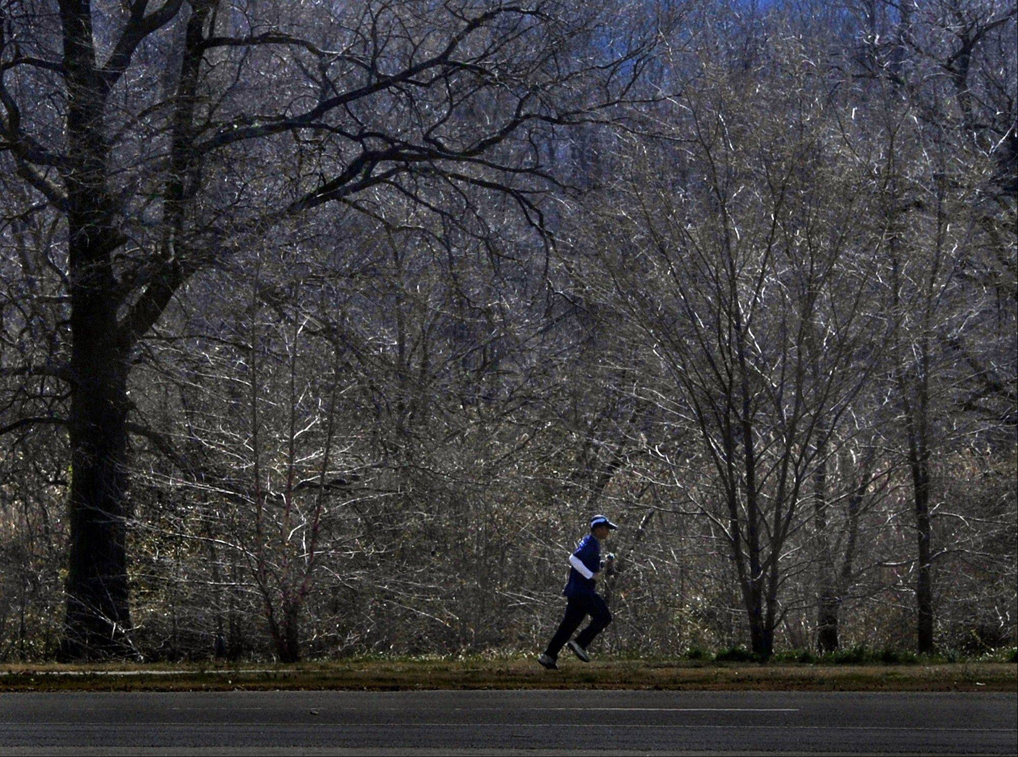 Walter Barrera during a 20-mile training run near his home in Washington.