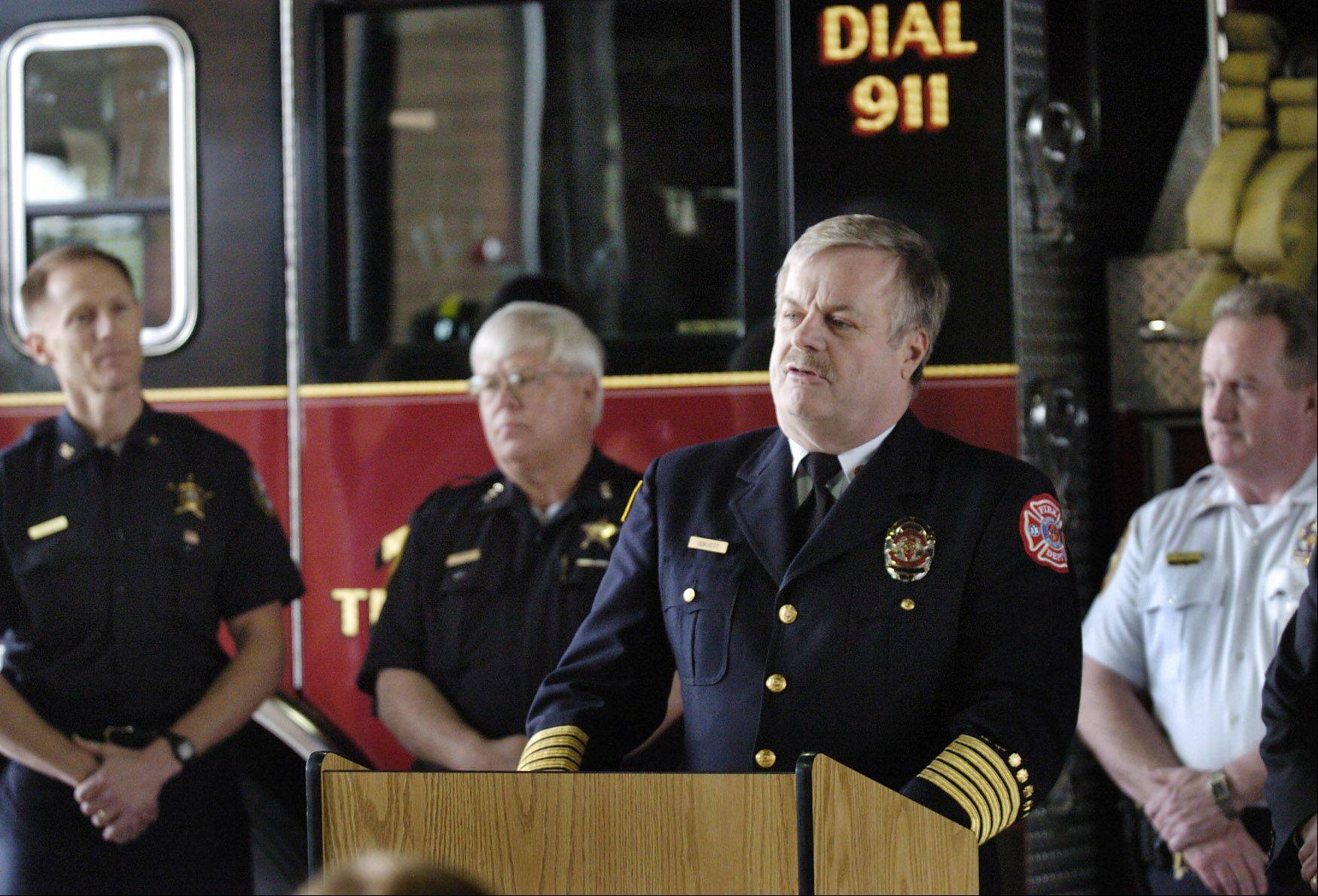 Hoffman Estates Fire Chief Robert Gorvett speaks to first responders in 2009. Gorvett is set to retire on June 30 after 38 years with the department.
